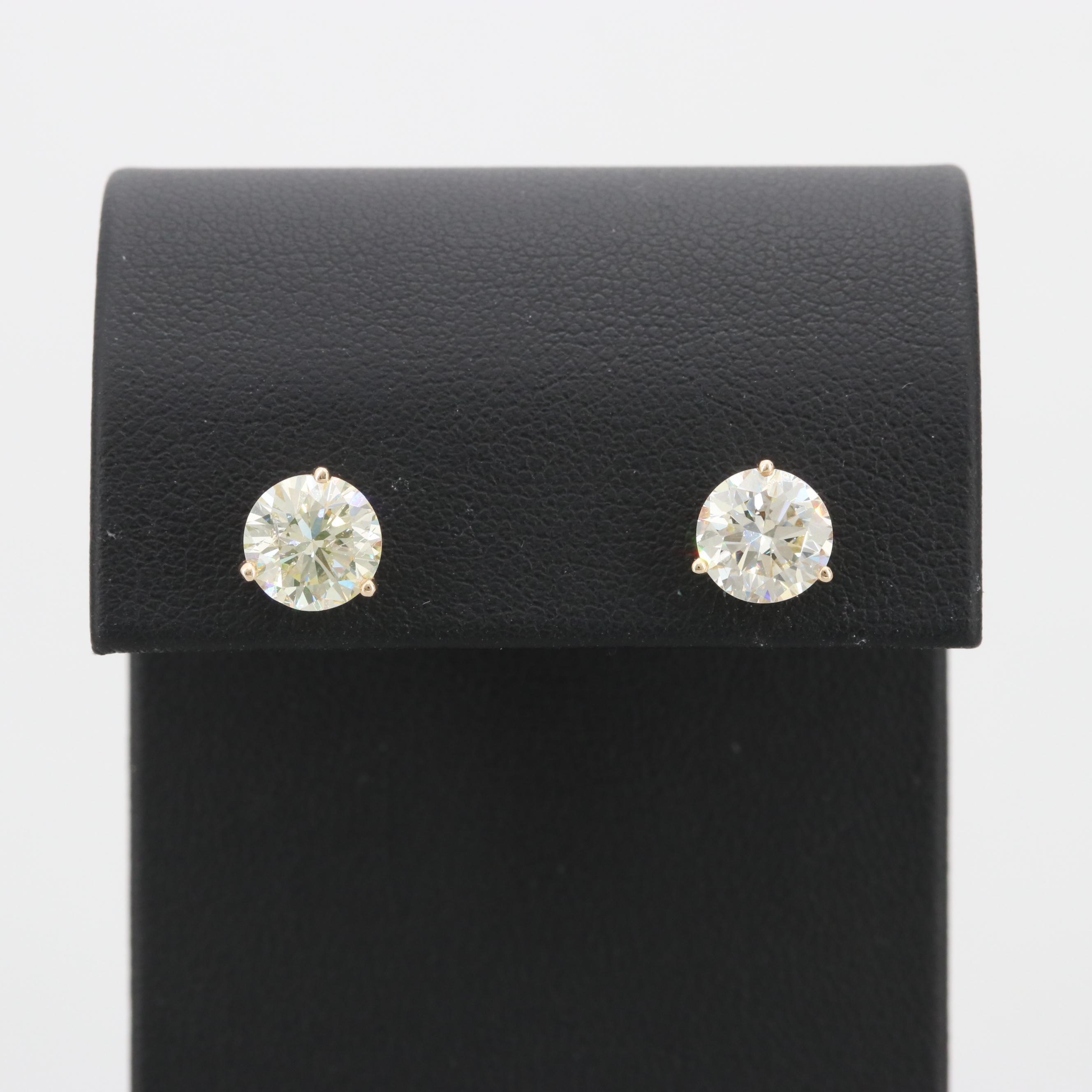14K Yellow Gold 3.17 CTW Diamond Earrings