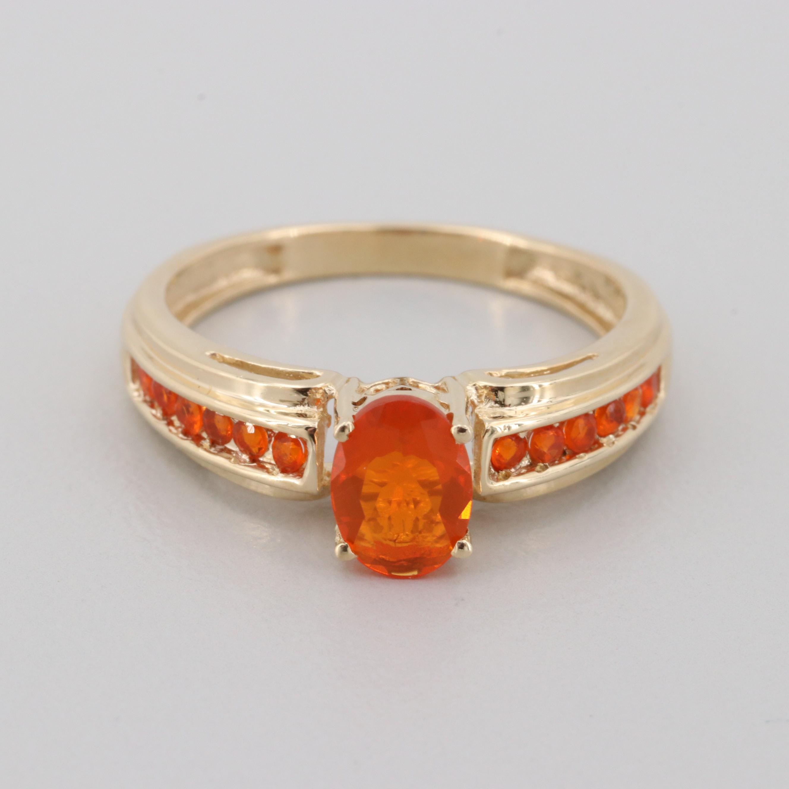 10K Yellow Gold Fire Opal Ring