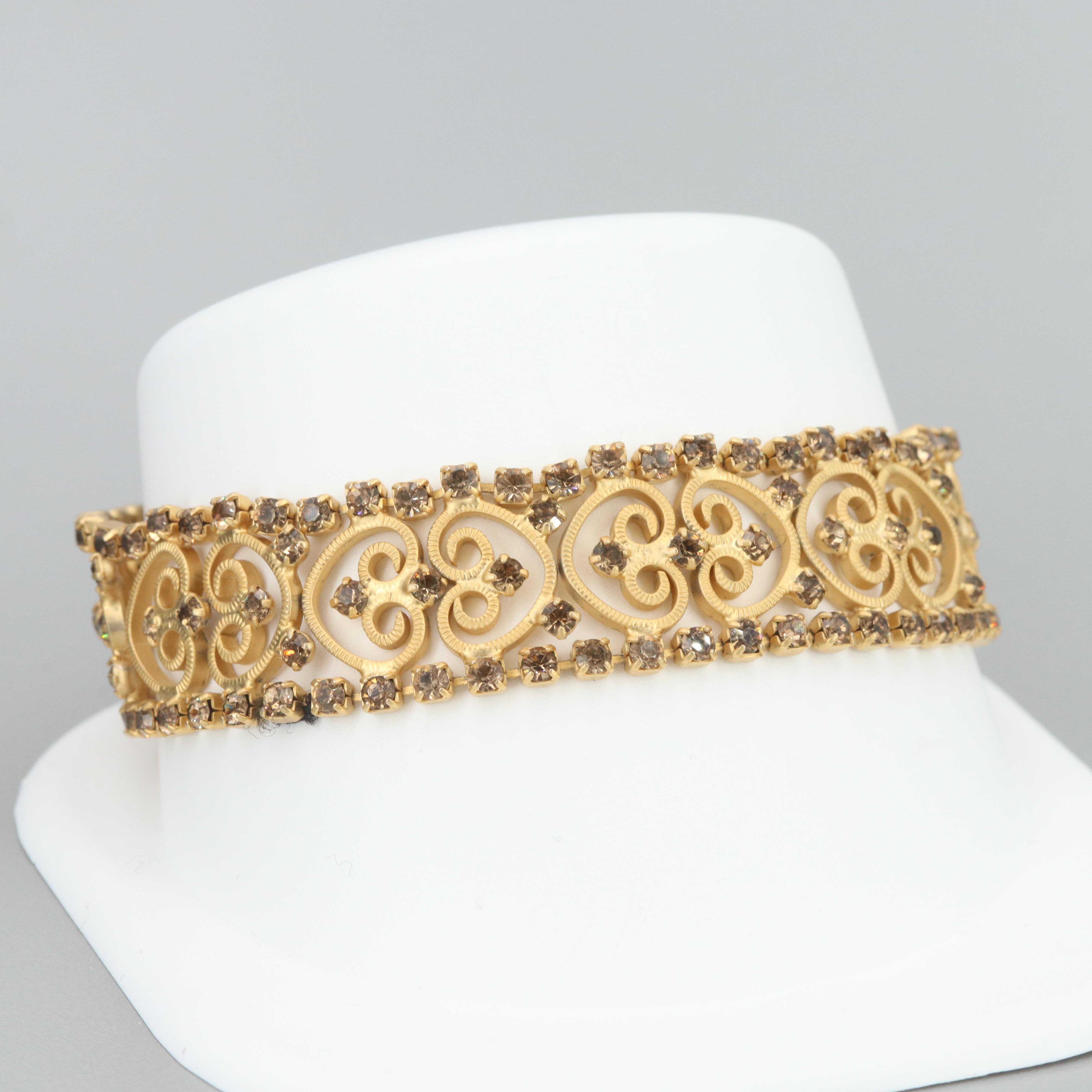 Gold Tone Glass Openwork Bracelet