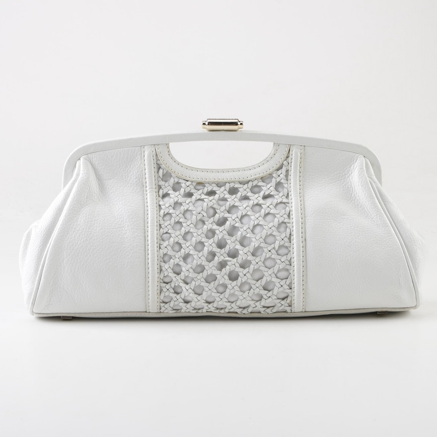97c0ea0a1b9e Elliott Lucca White Leather Clutch with Cutout Handle and Braided Accents  ...