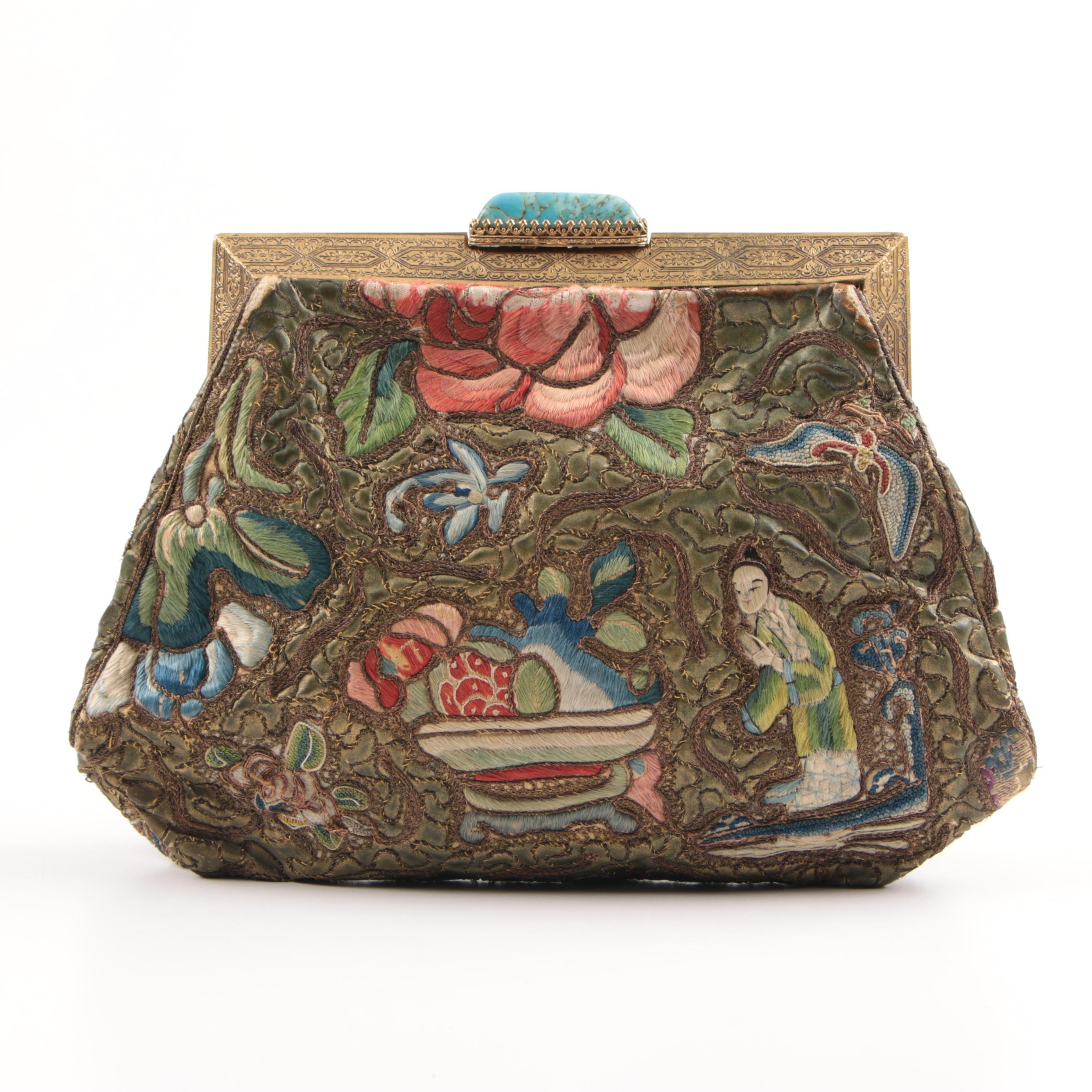 "Chinese Silk Purse with ""Forbidden Knot"" Embroidery, Republic"