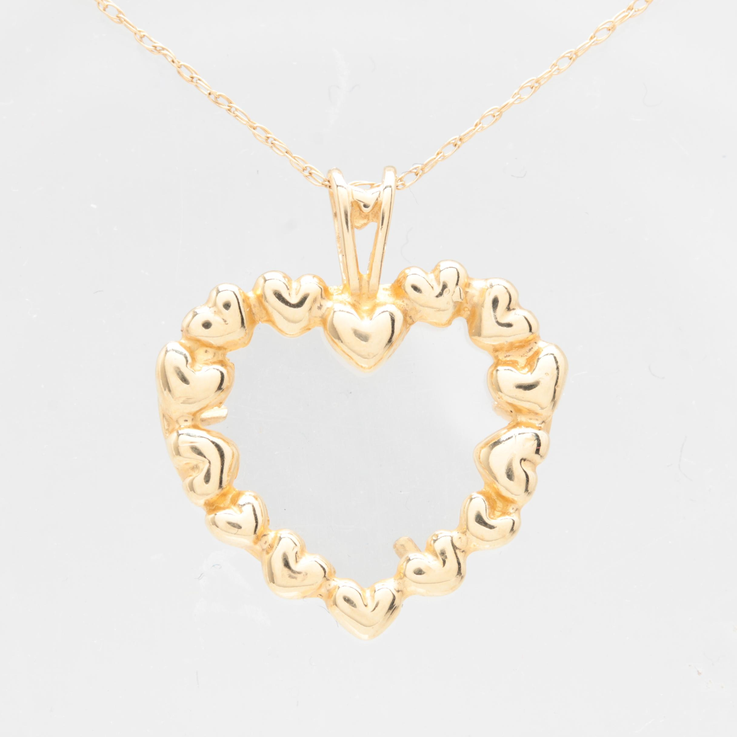 Peter Brams Designs 14K Yellow Gold Glass Heart Pendant Necklace