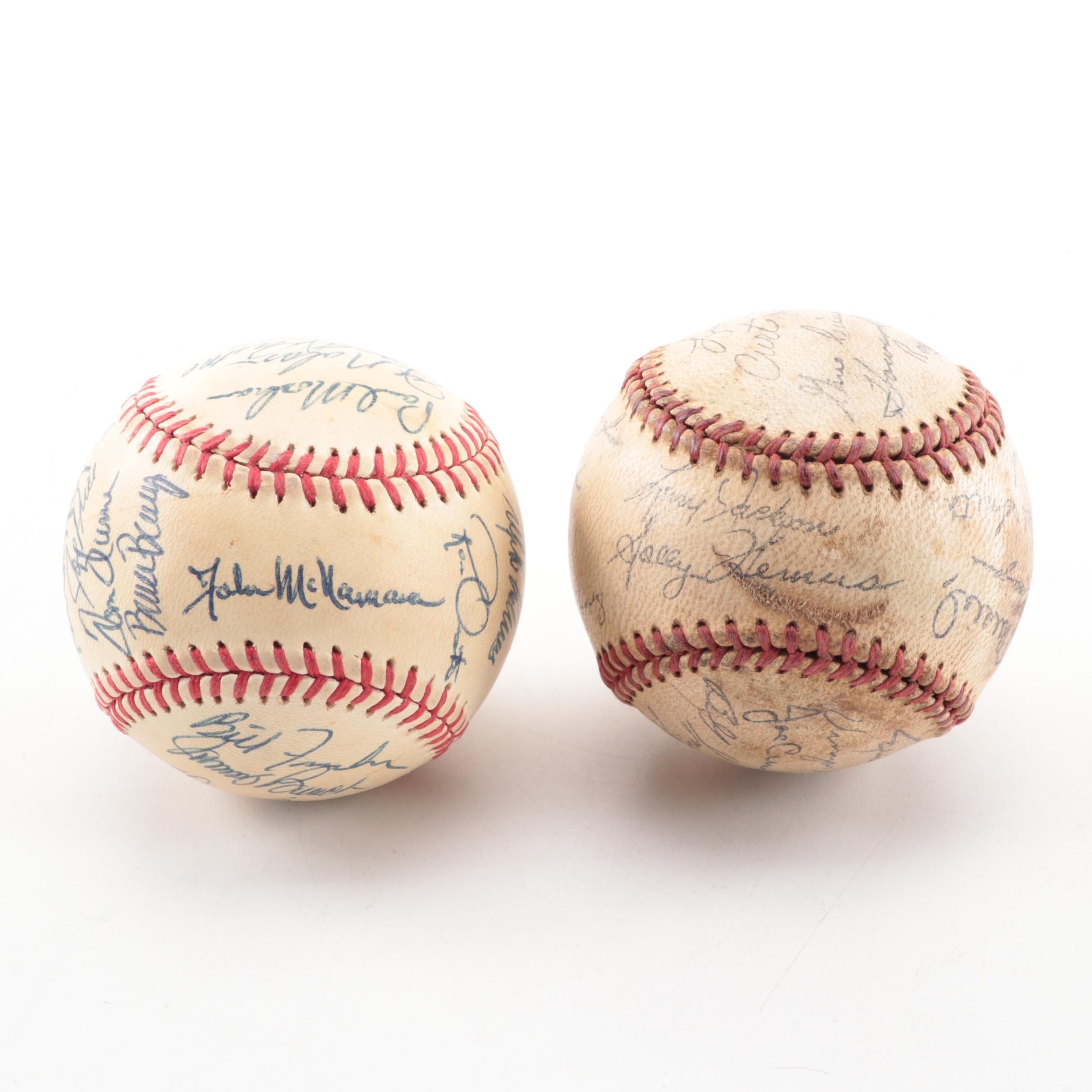 1981 Autographed Cincinnati Reds Baseball and 1959 Stamped Cardinals Baseball