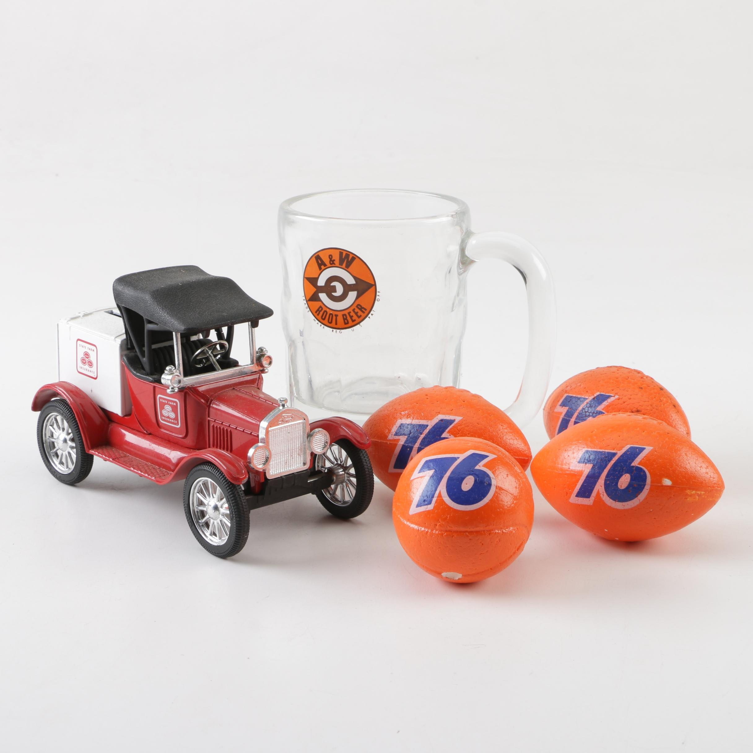 Union 76 Antenna Balls with A&W Root Beer Mug and Coin Bank