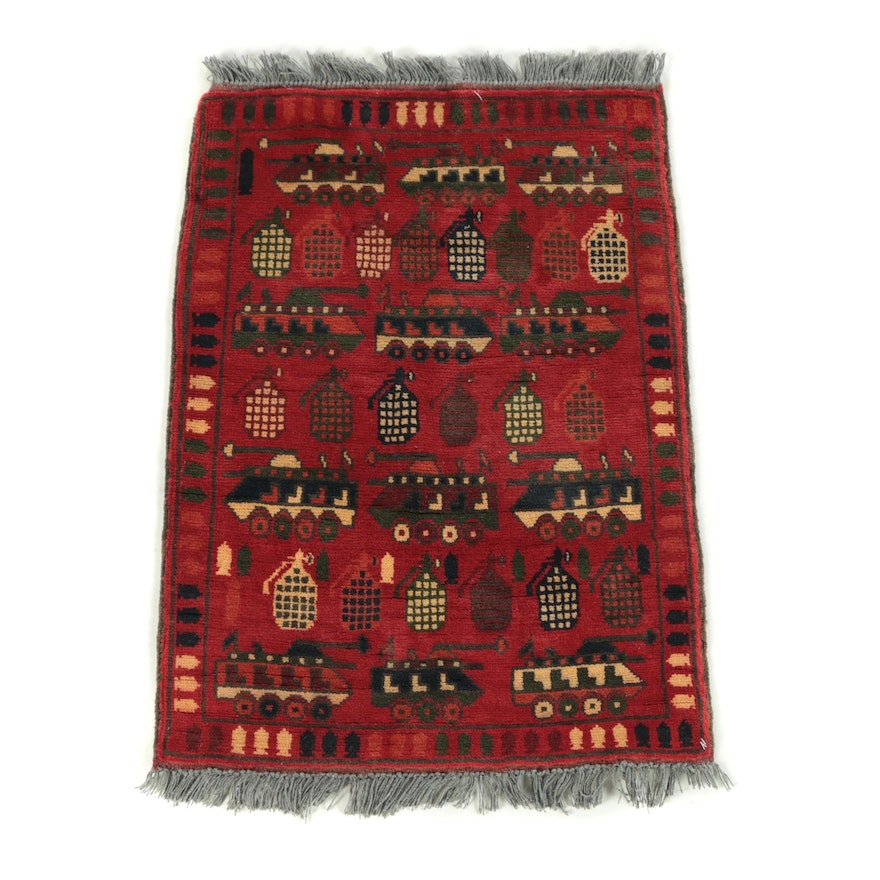 "Hand-Knotted Afghan ""War"" Pictorial Accent Rug"