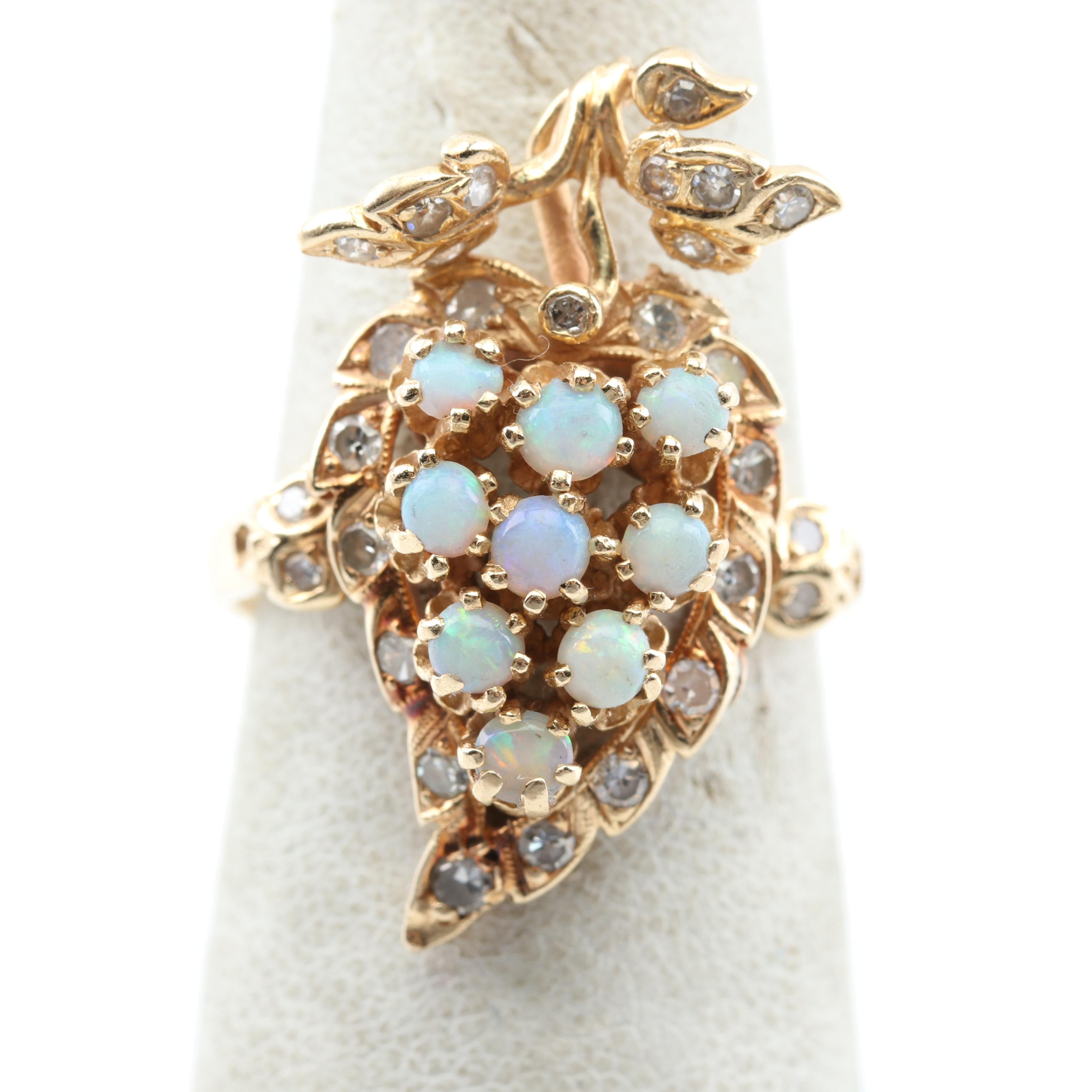 14K Yellow Gold Opal and Diamond Cluster Ring