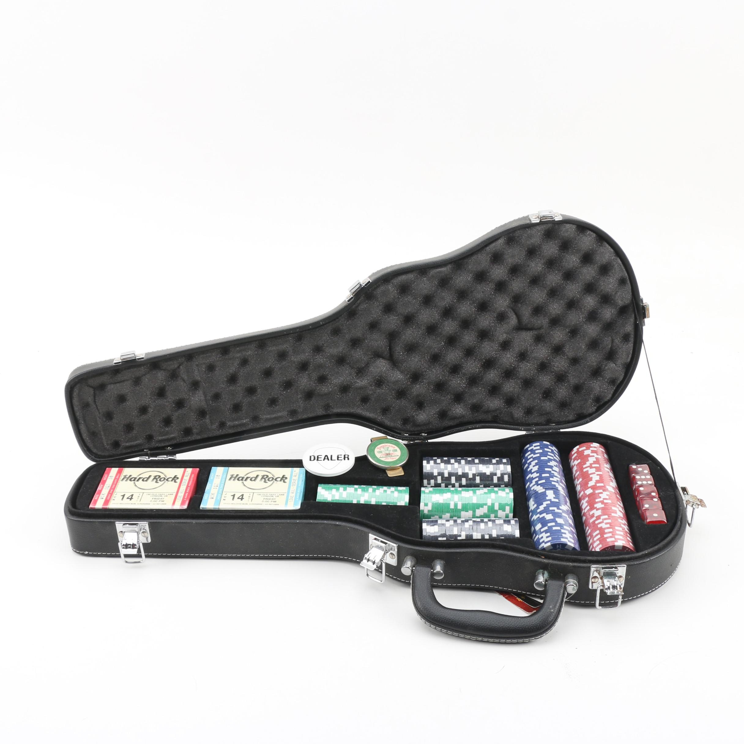 Hard Rock Cafe Poker Set in Small Guitar Case