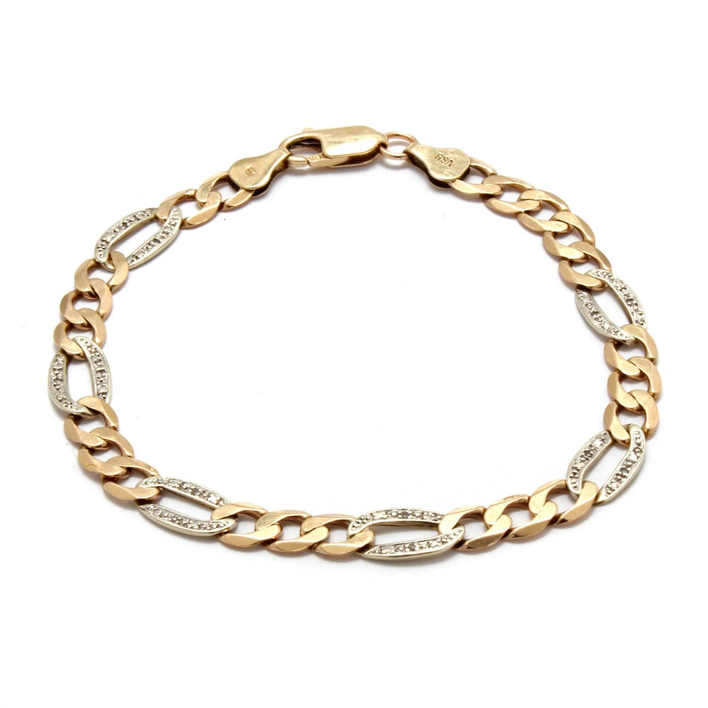 10K White and Yellow Gold Diamond Link Bracelet