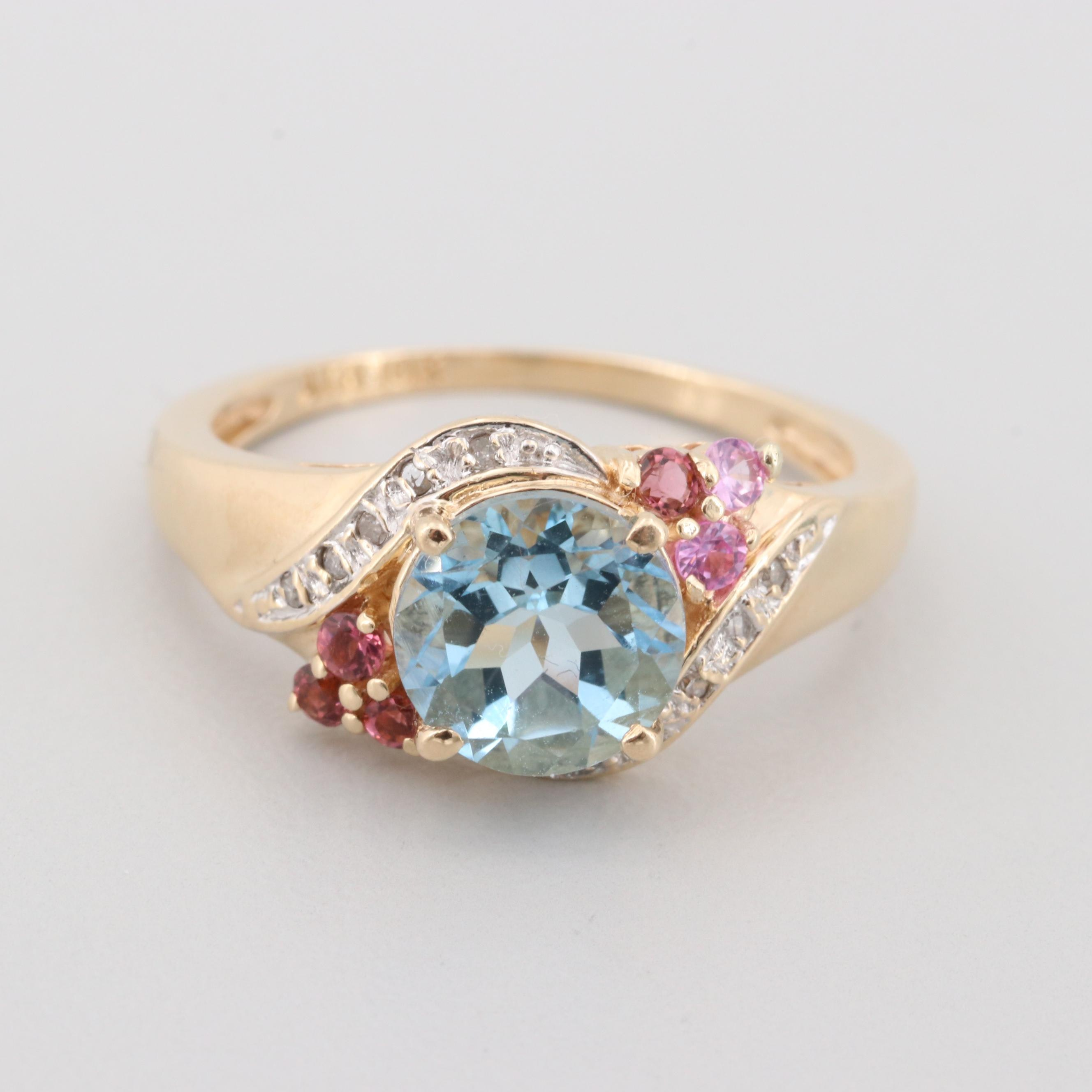 10K Yellow Gold Aquamarine, Diamond and Pink Tourmaline Ring