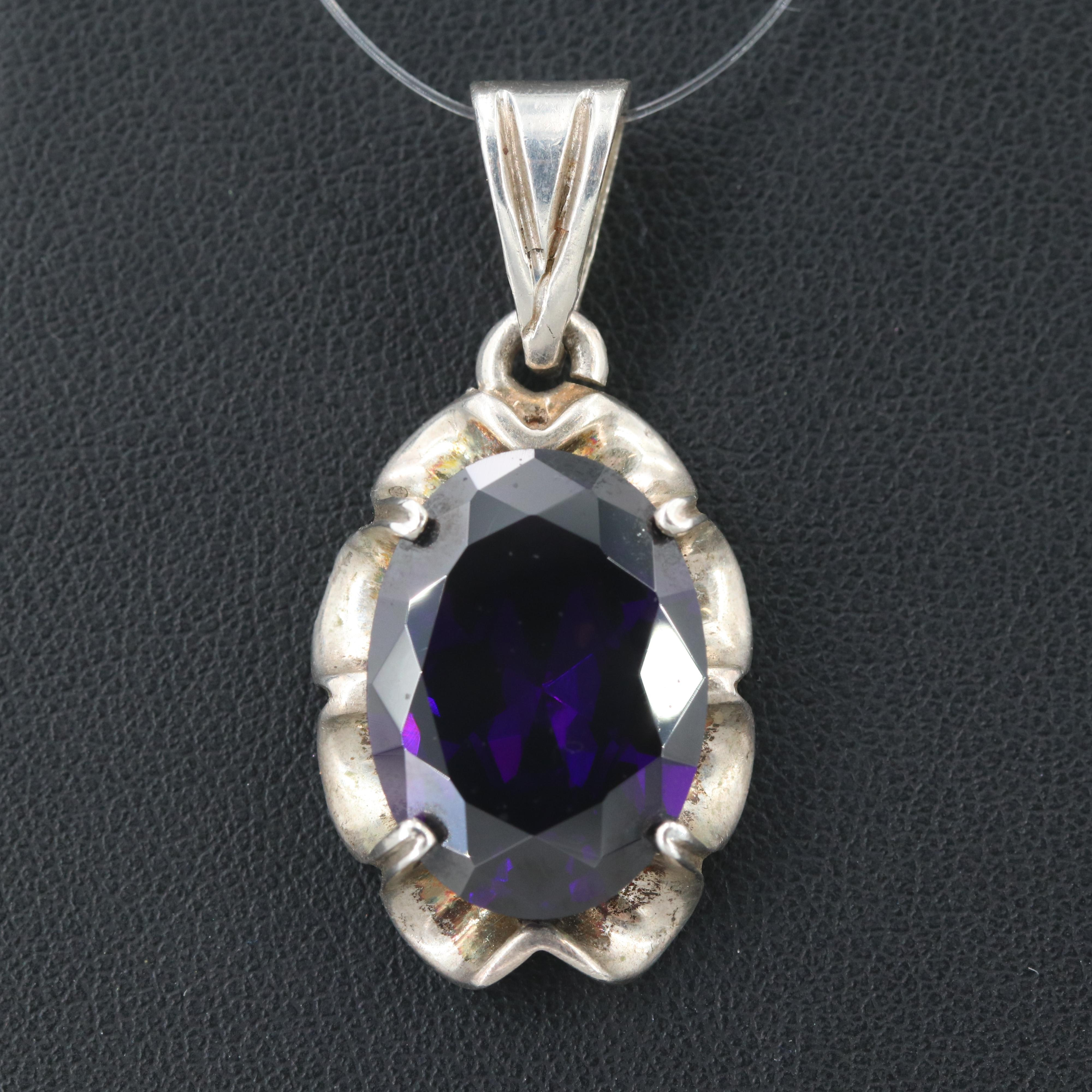 Mexican Sterling Silver Cubic Zirconia Pendant