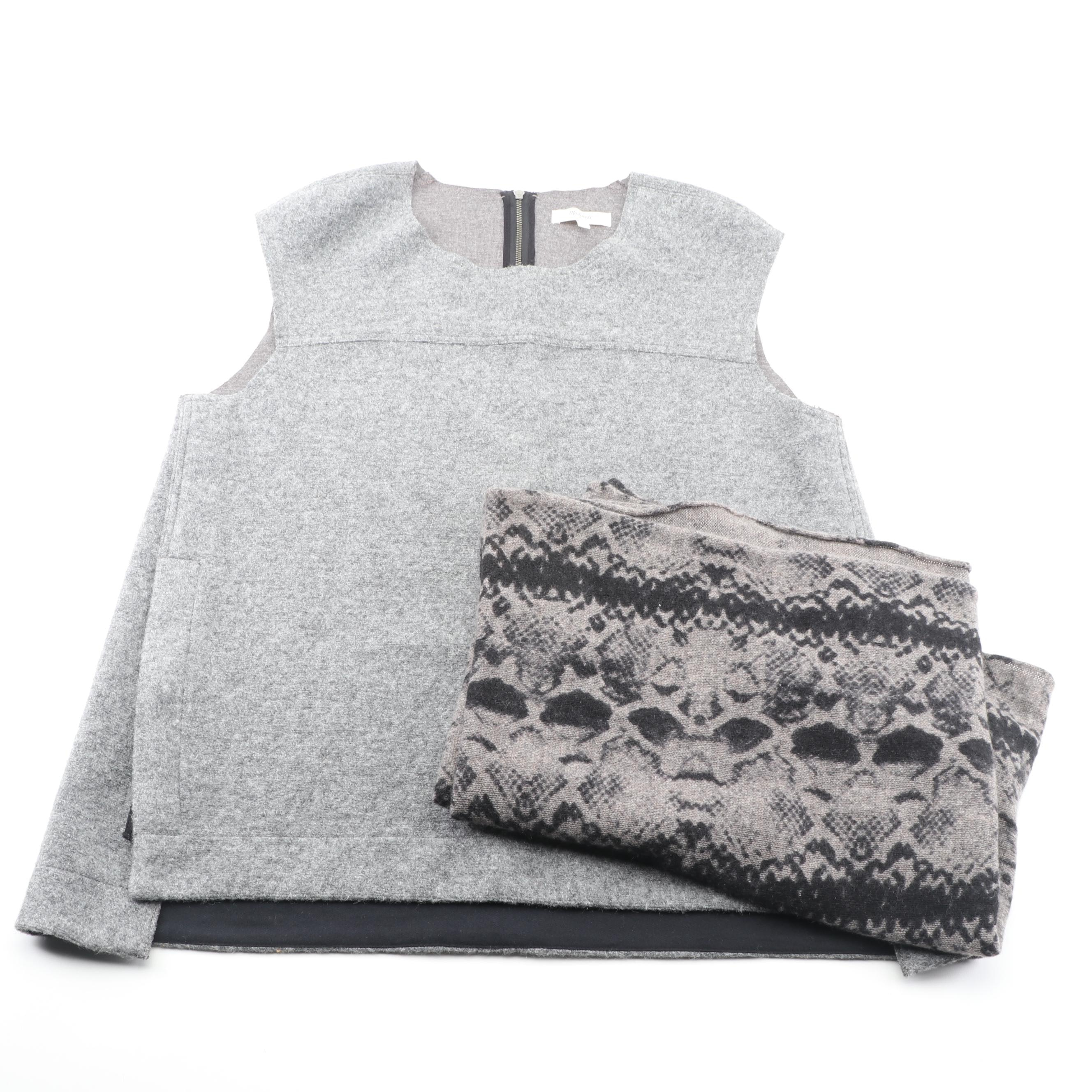Women's Madewell Grey Wool Top with White + Warren Cashmere Infinity Scarf