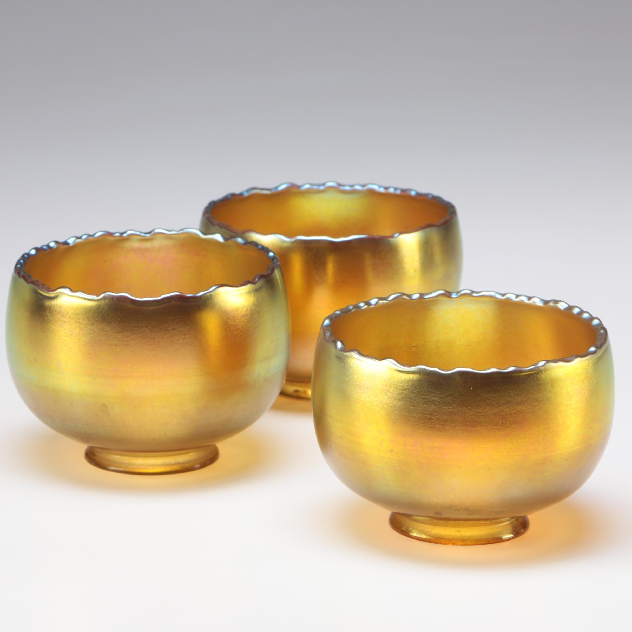Steuben Gold Aurene Art Glass Lamp Shades, Early 20th Century