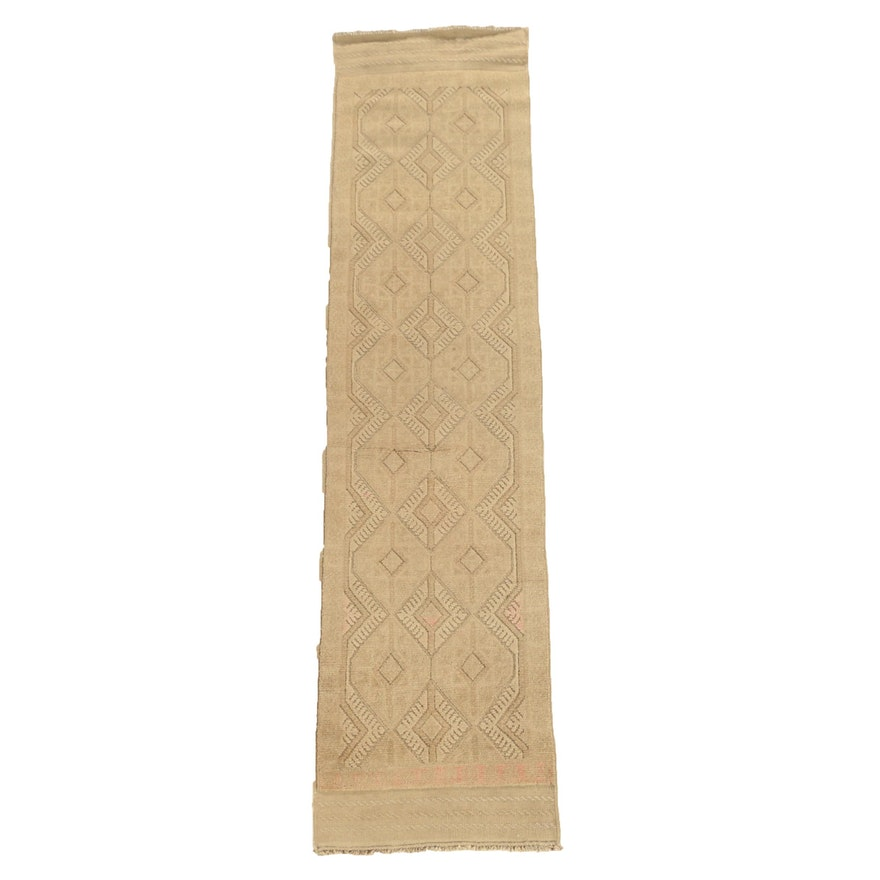 Hand-Knotted and Embroidered Baluch Mashwani Wool Carpet Runner