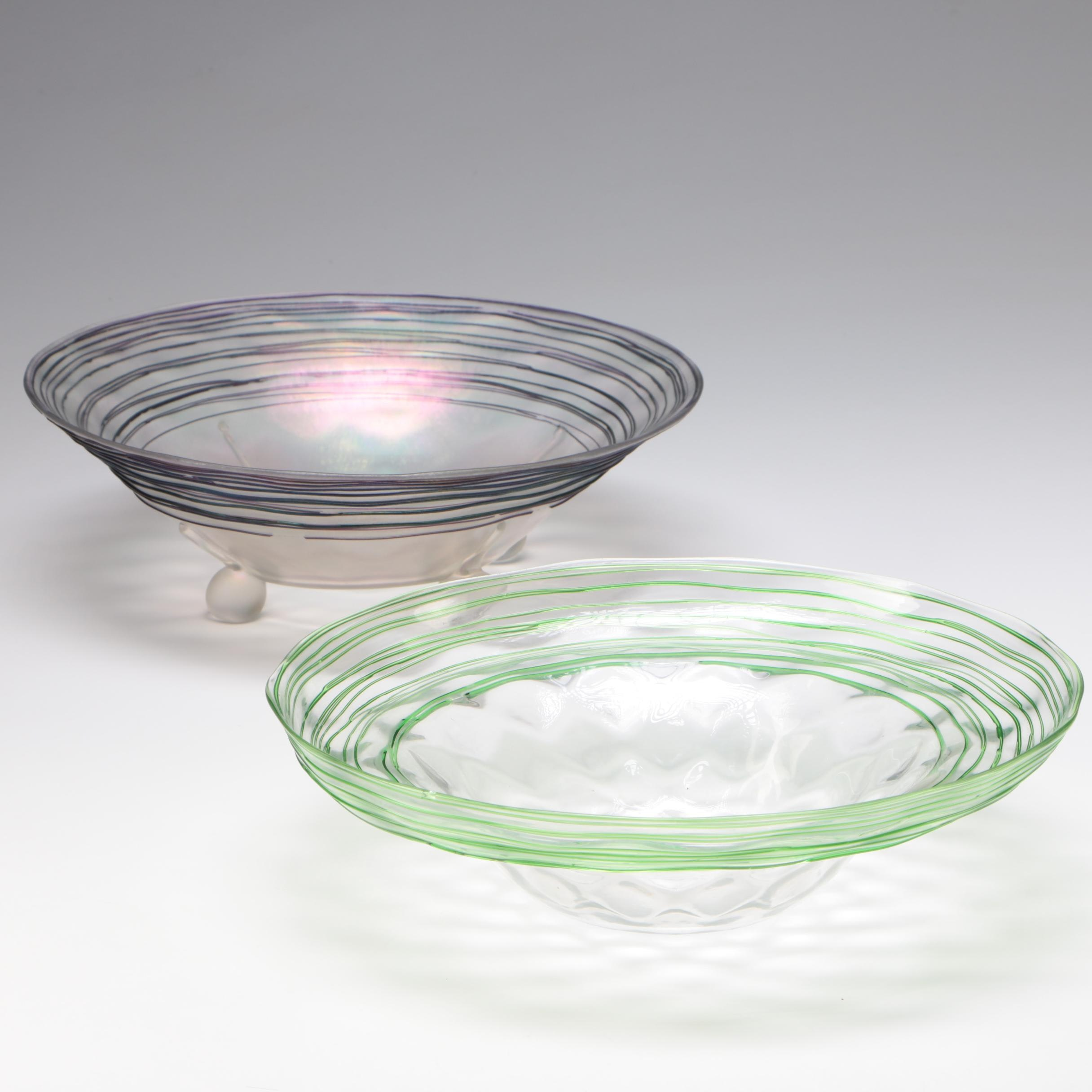 Steuben Green and Purple Threaded Glass Bowls