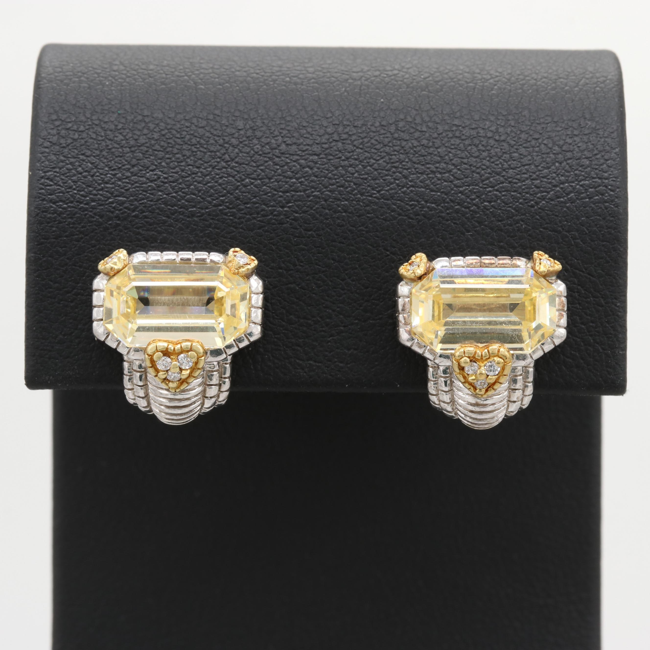 Judith Ripka Sterling Diamond and Cubic Zirconia Earrings with 18K Gold Accents