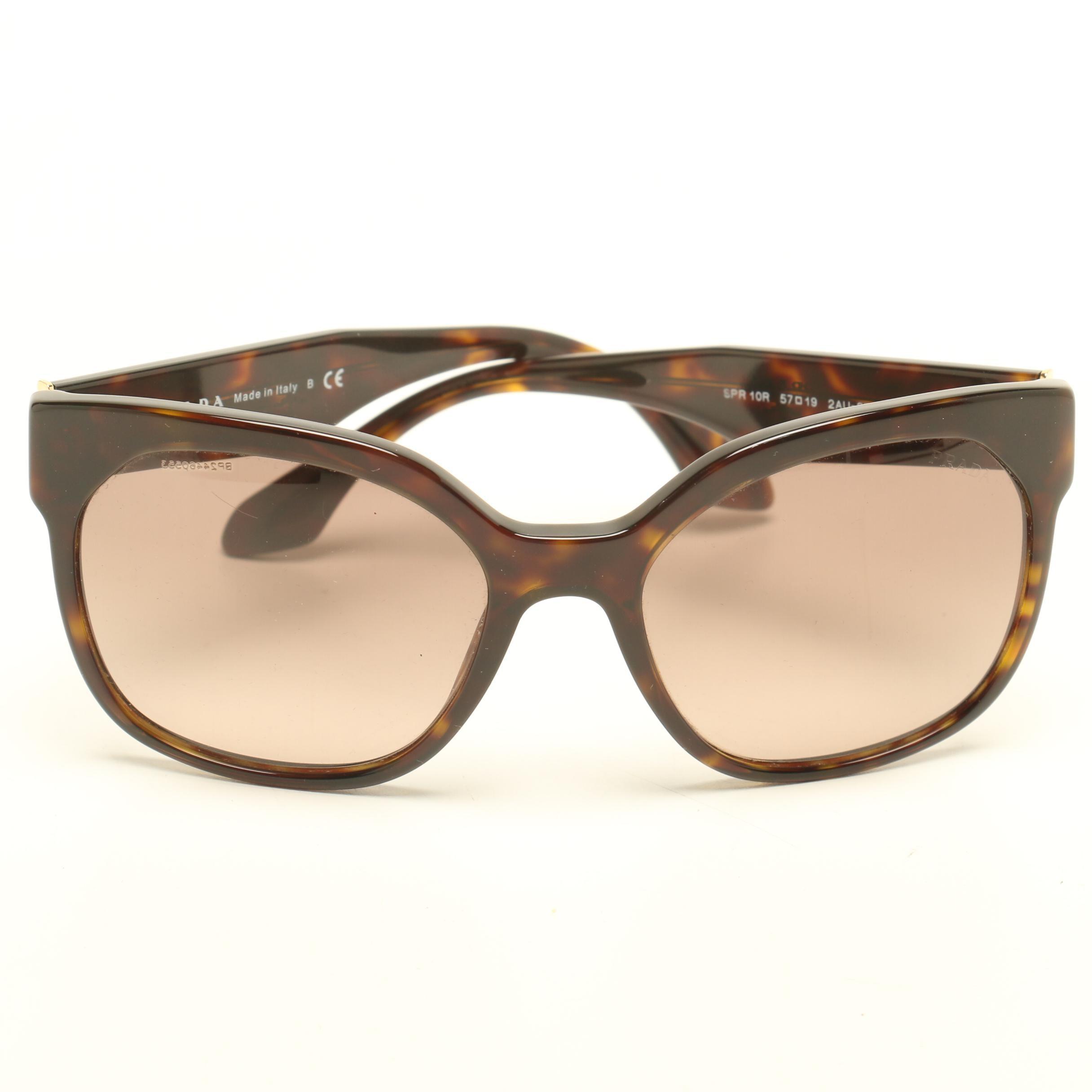 Prada Tortoiseshell-Style Modified Cat Eye Designer Sunglasses