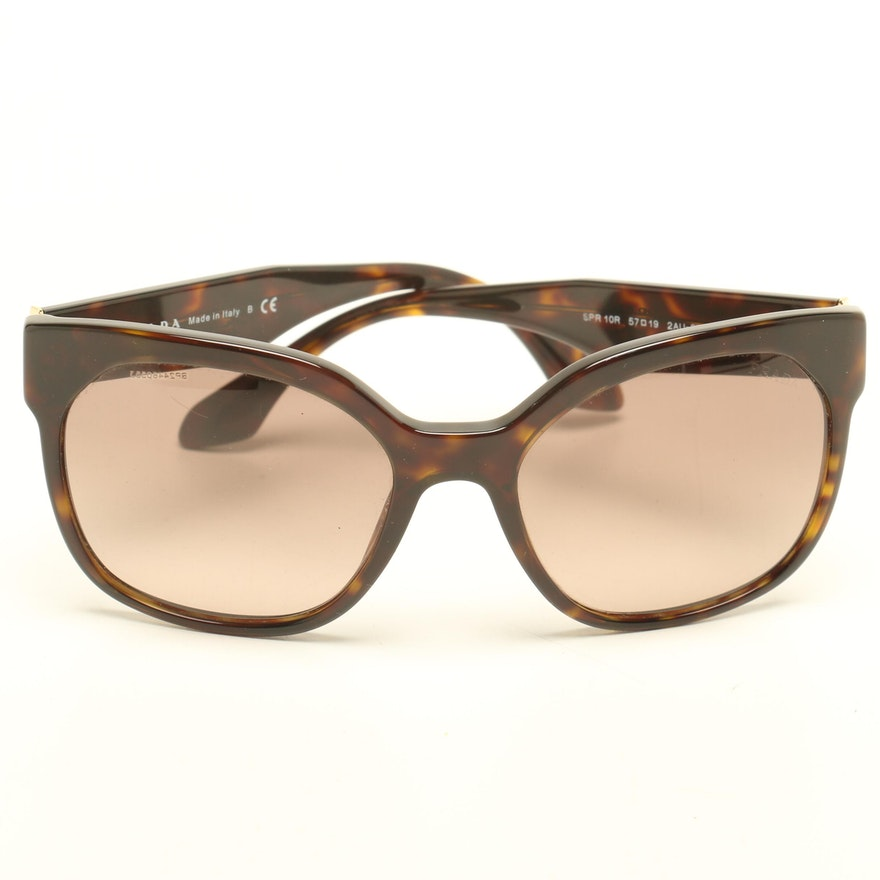 5973668a0fa Prada Tortoiseshell-Style Modified Cat Eye Designer Sunglasses   EBTH