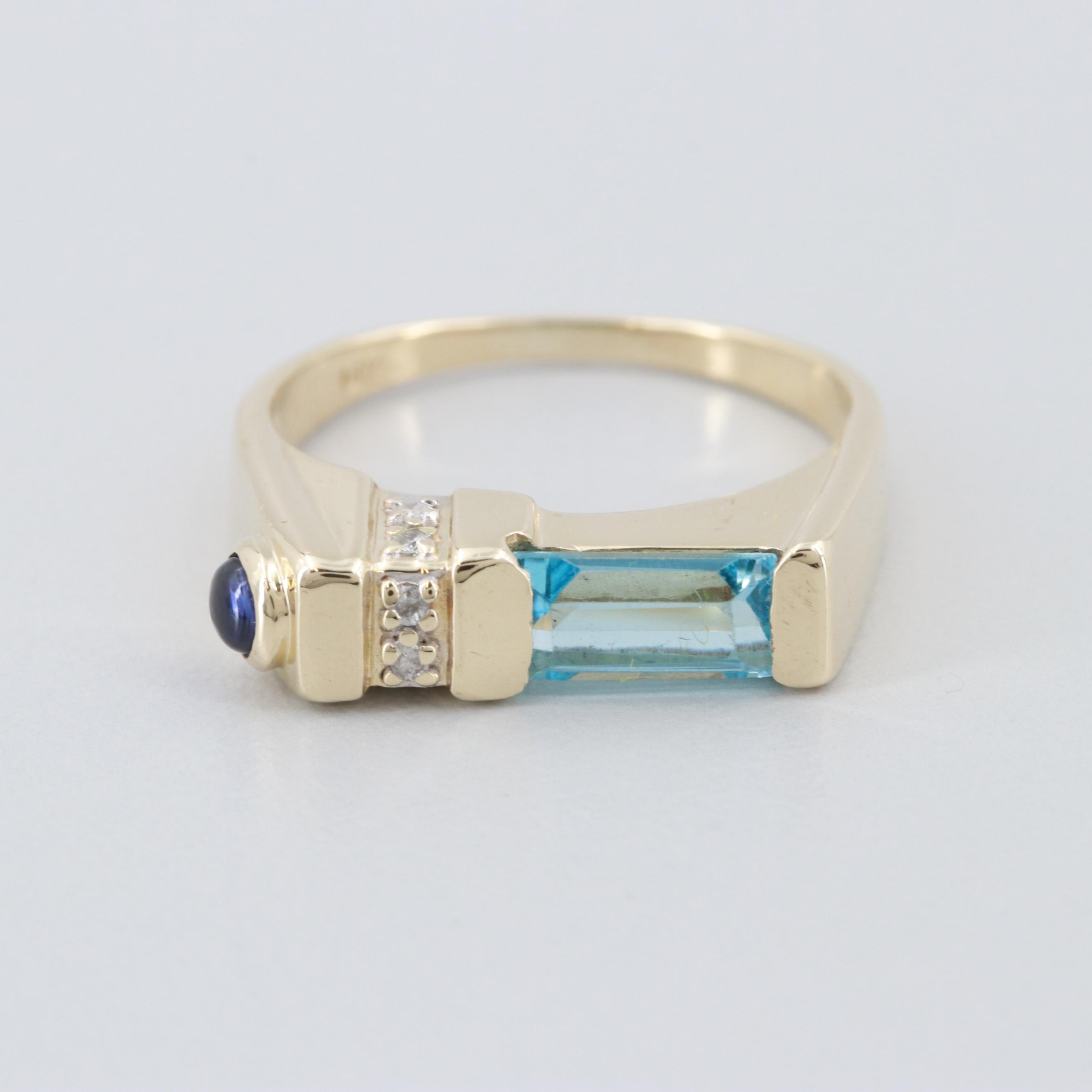 14K Yellow Gold Blue Topaz, Diamond and Blue Sapphire Ring