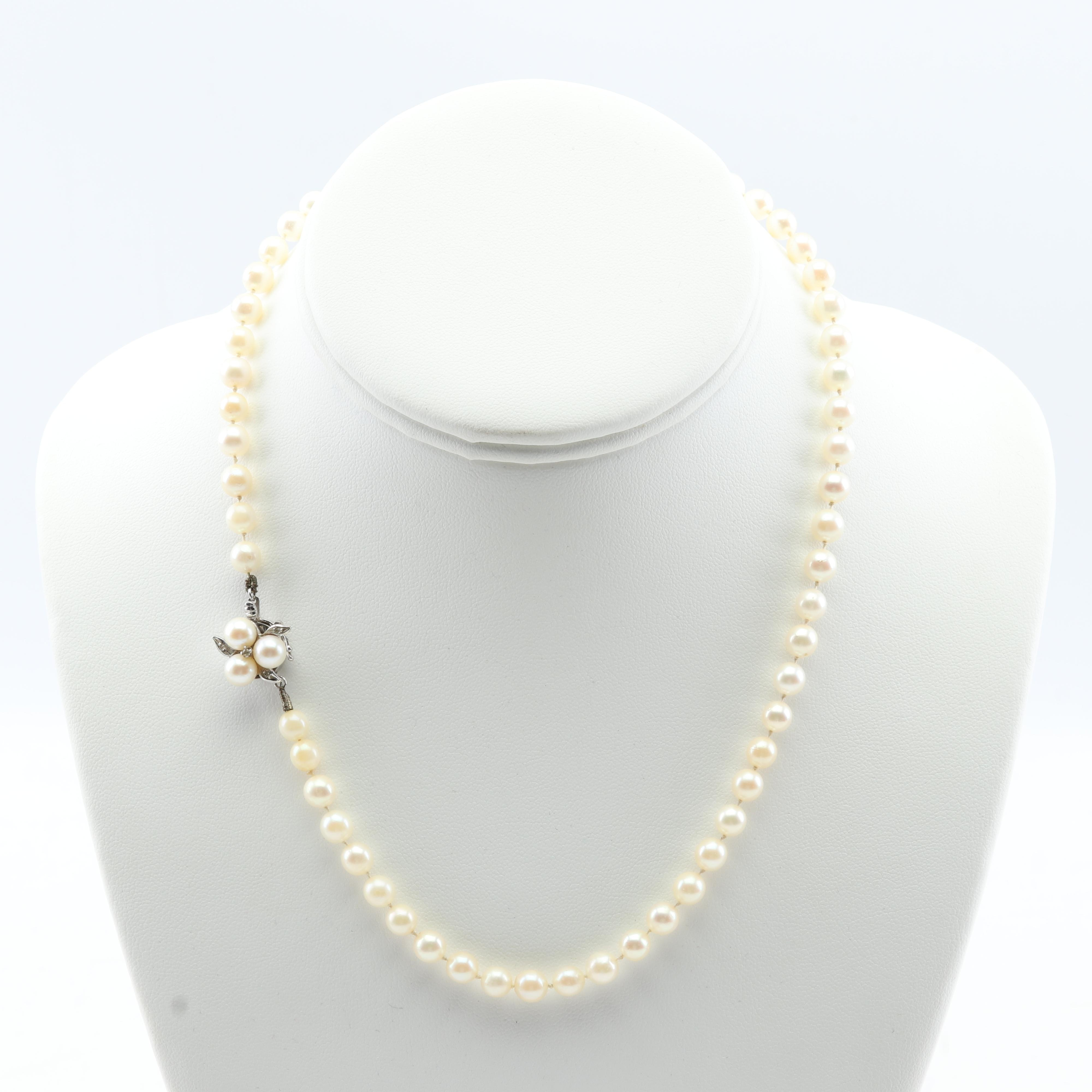 14K White Gold Cultured Pearl Strand with Diamond Flower Clasp