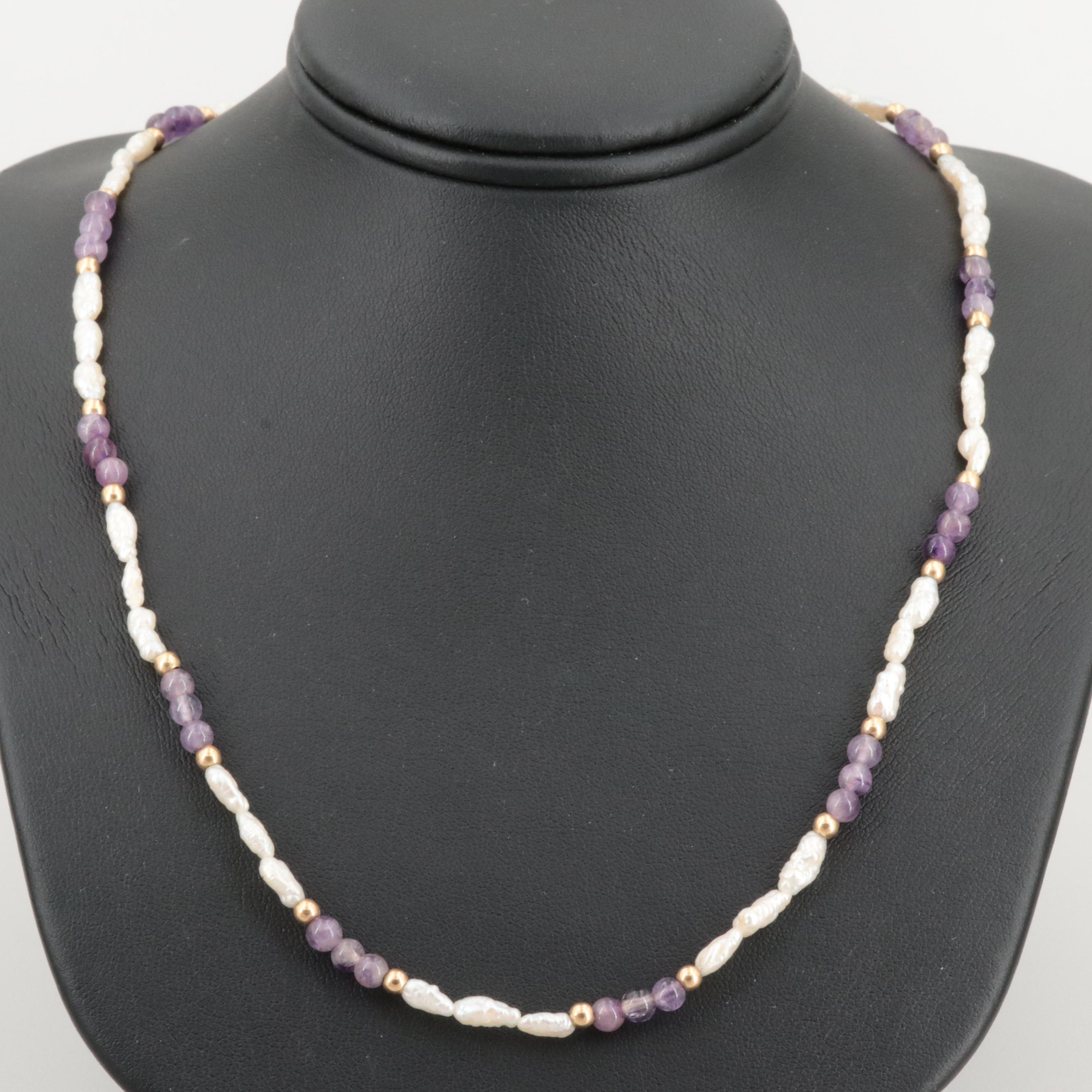 14K Yellow Gold Cultured Pearl and Amethyst Necklace