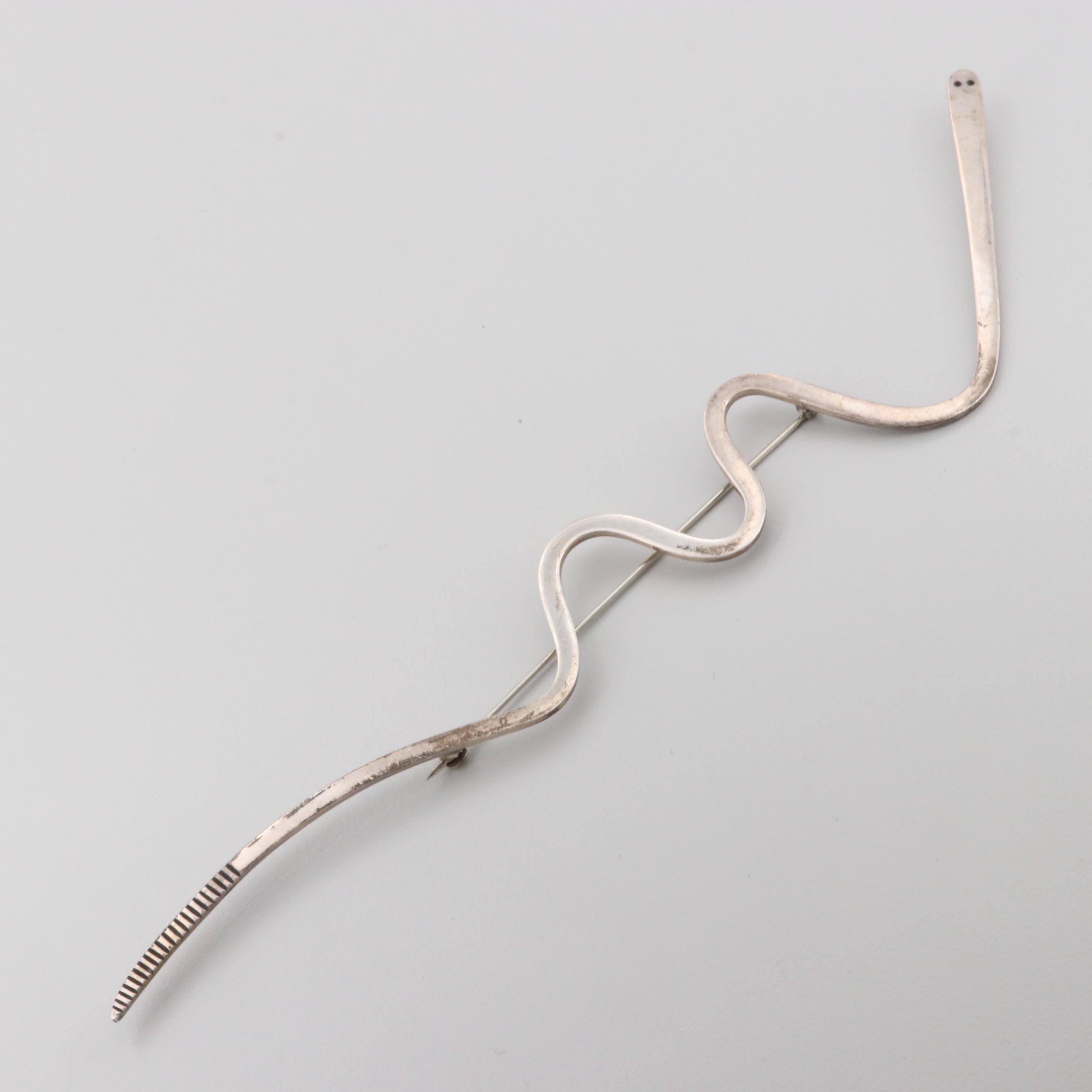 Sterling Silver Snake Motif Brooch