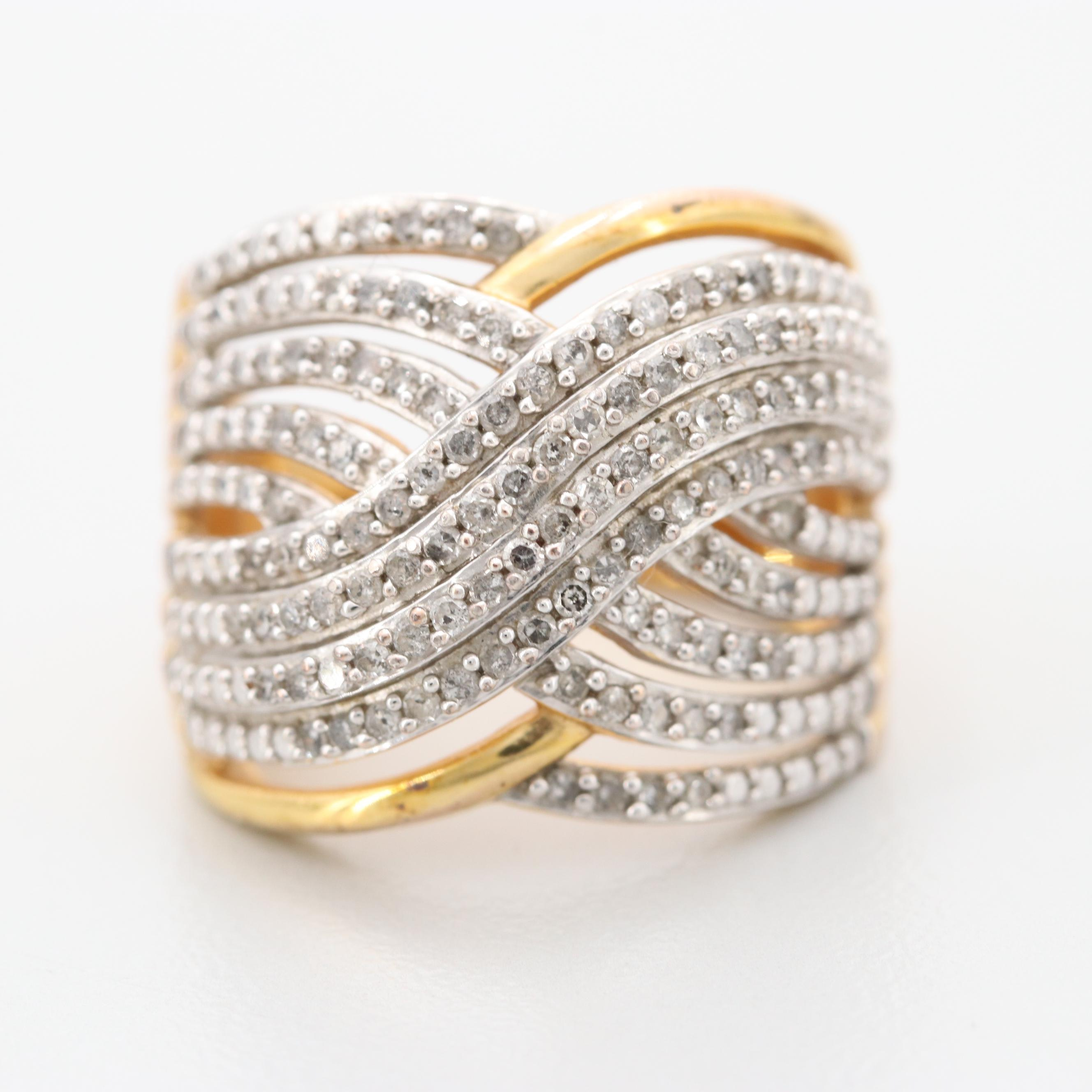 Gold Wash on Sterling Silver Diamond Crossover Ring