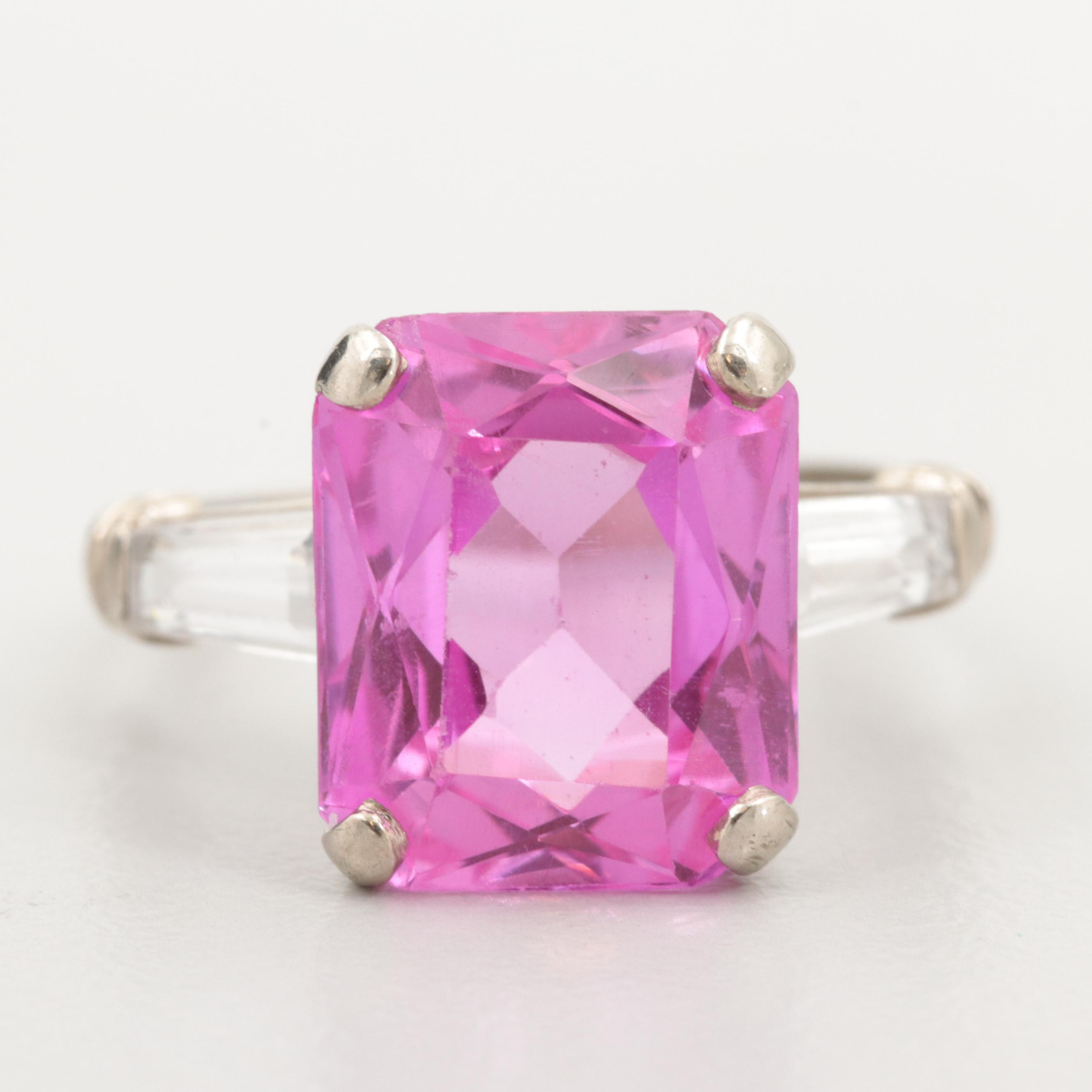 10K White Gold Synthetic Pink and Synthetic White Sapphire Ring