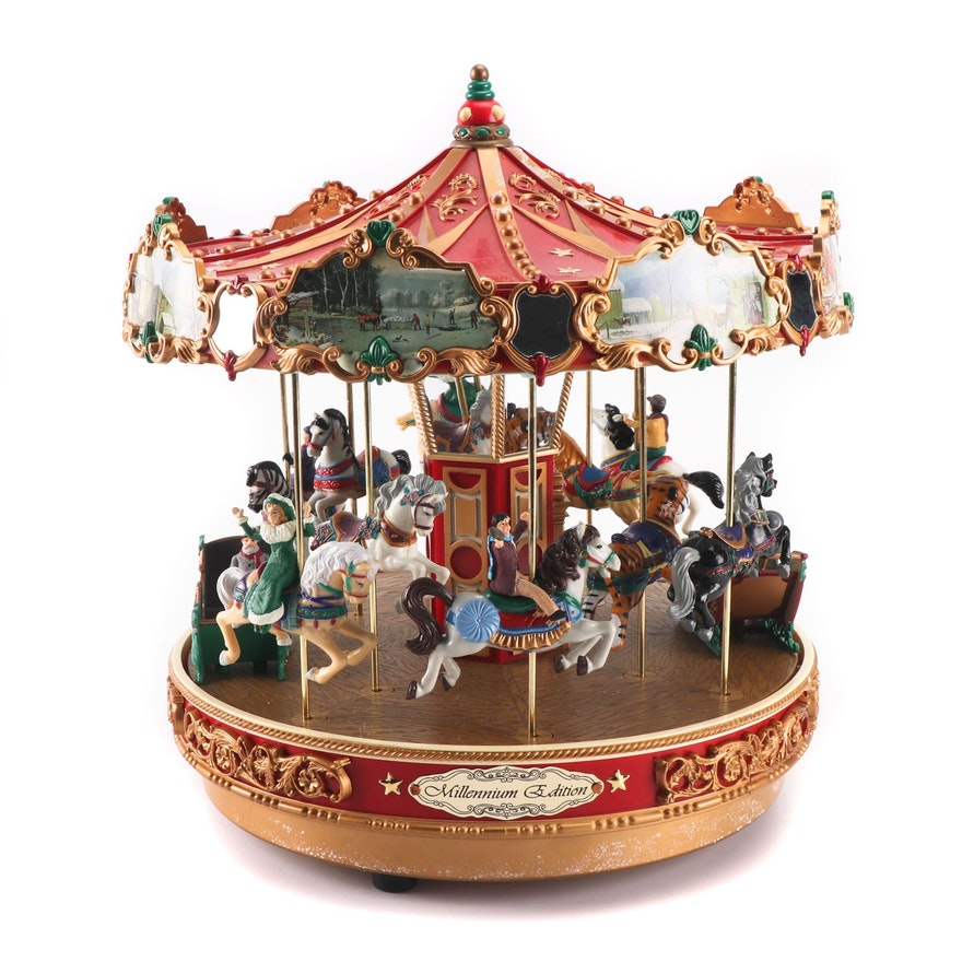 Mr Christmas Carousel.Mr Christmas Gold Label Millennium Edition Musical Carousel