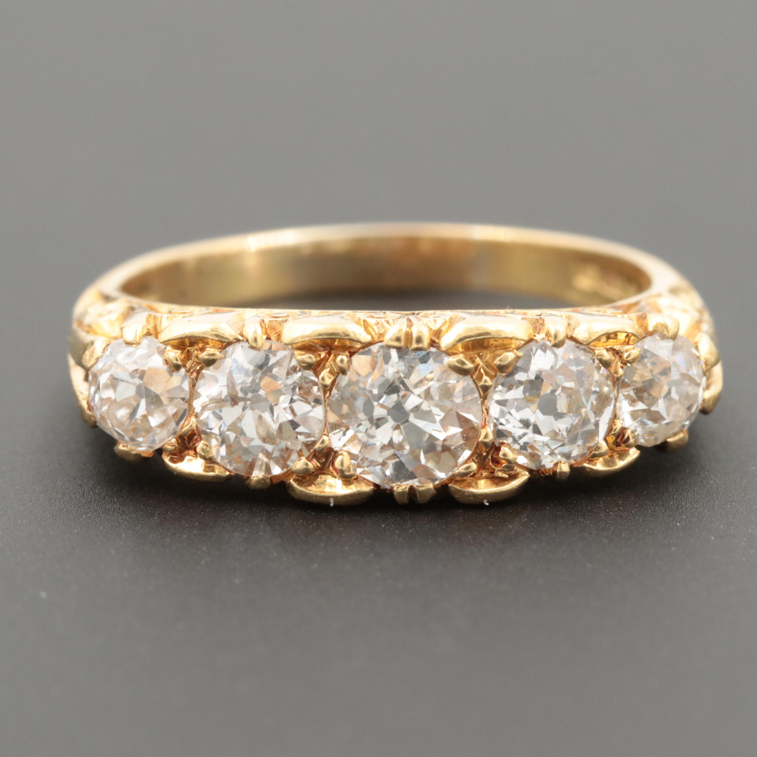 Victorian Style 18K Yellow Gold 1.45 CTW Diamond Ring
