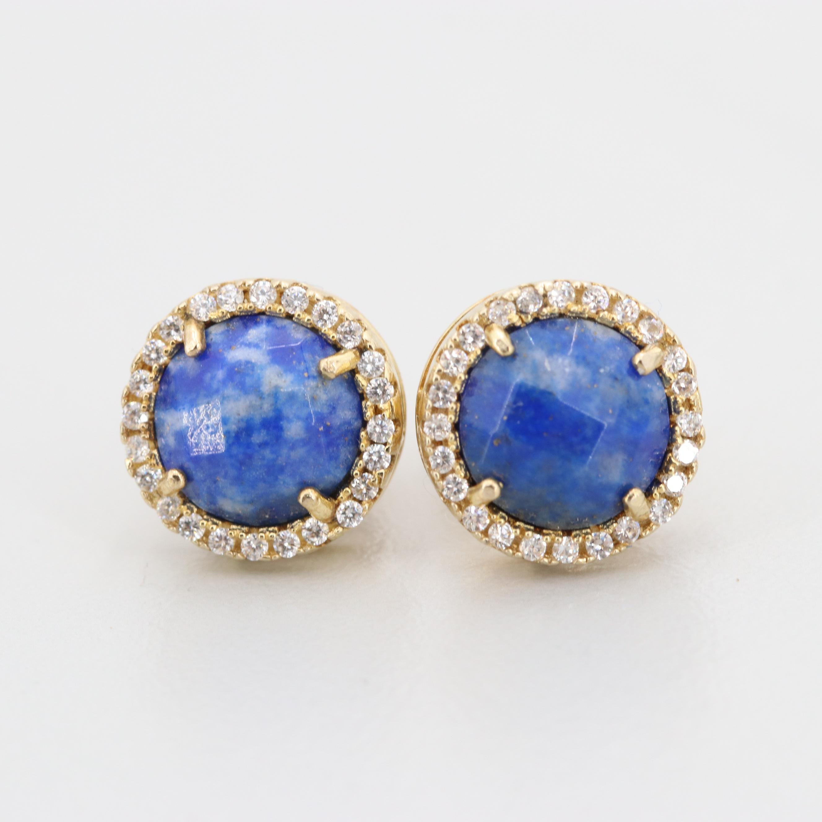 Gold Wash on Sterling Silver Lapis Lazuli and Cubic Zirconia Earrings