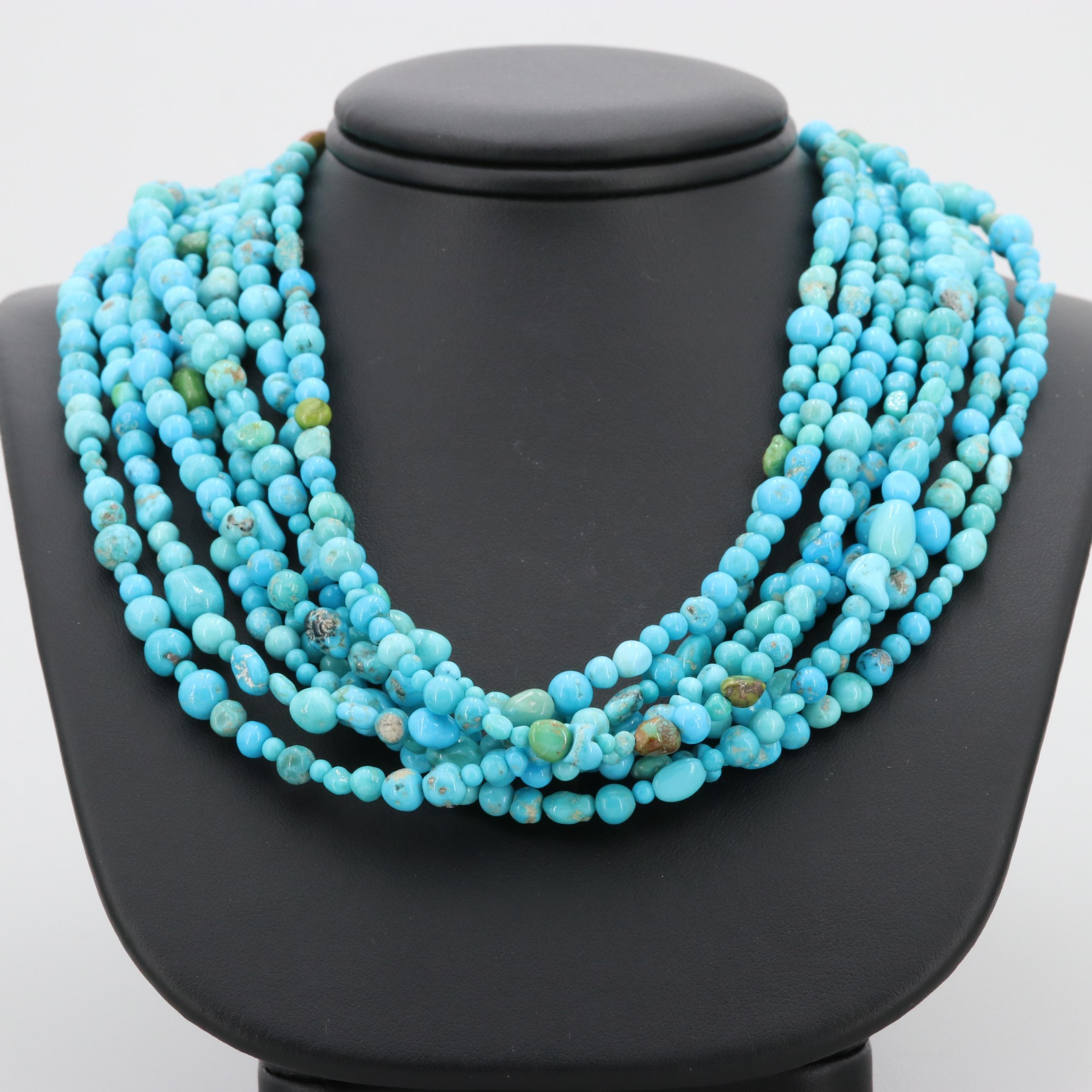Sterling Silver Turquoise Multi Chain Necklace