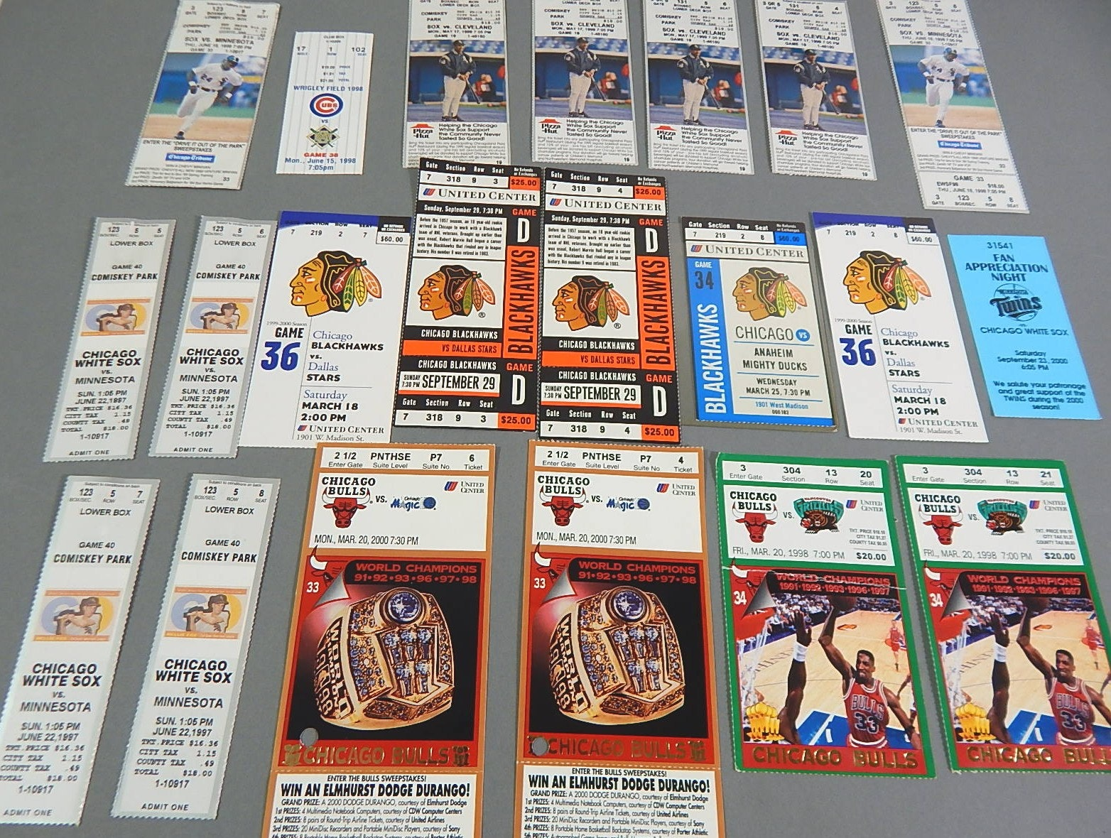 Chicago Bulls, Blackhawks, White Soxs, and Cubs Ticket Stub Collection