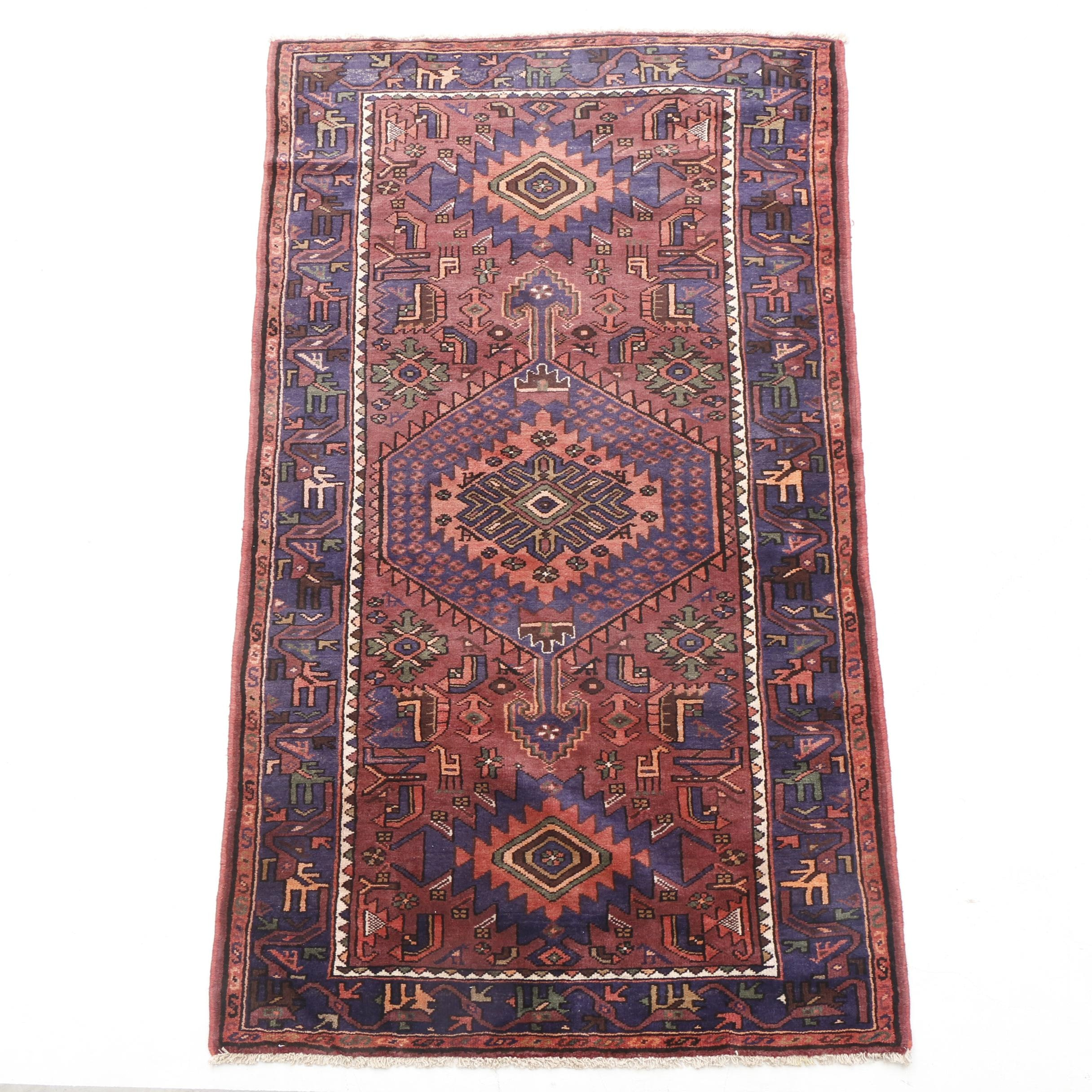 Hand-Knotted Caucasian Shirvan Pictorial Rug