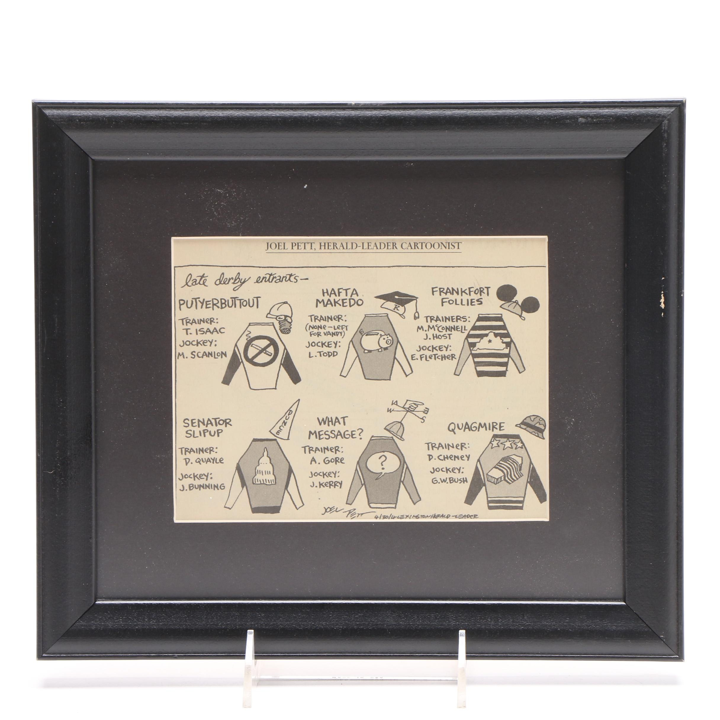 Framed Joel Pett Derby Ink Cartoon on Paper