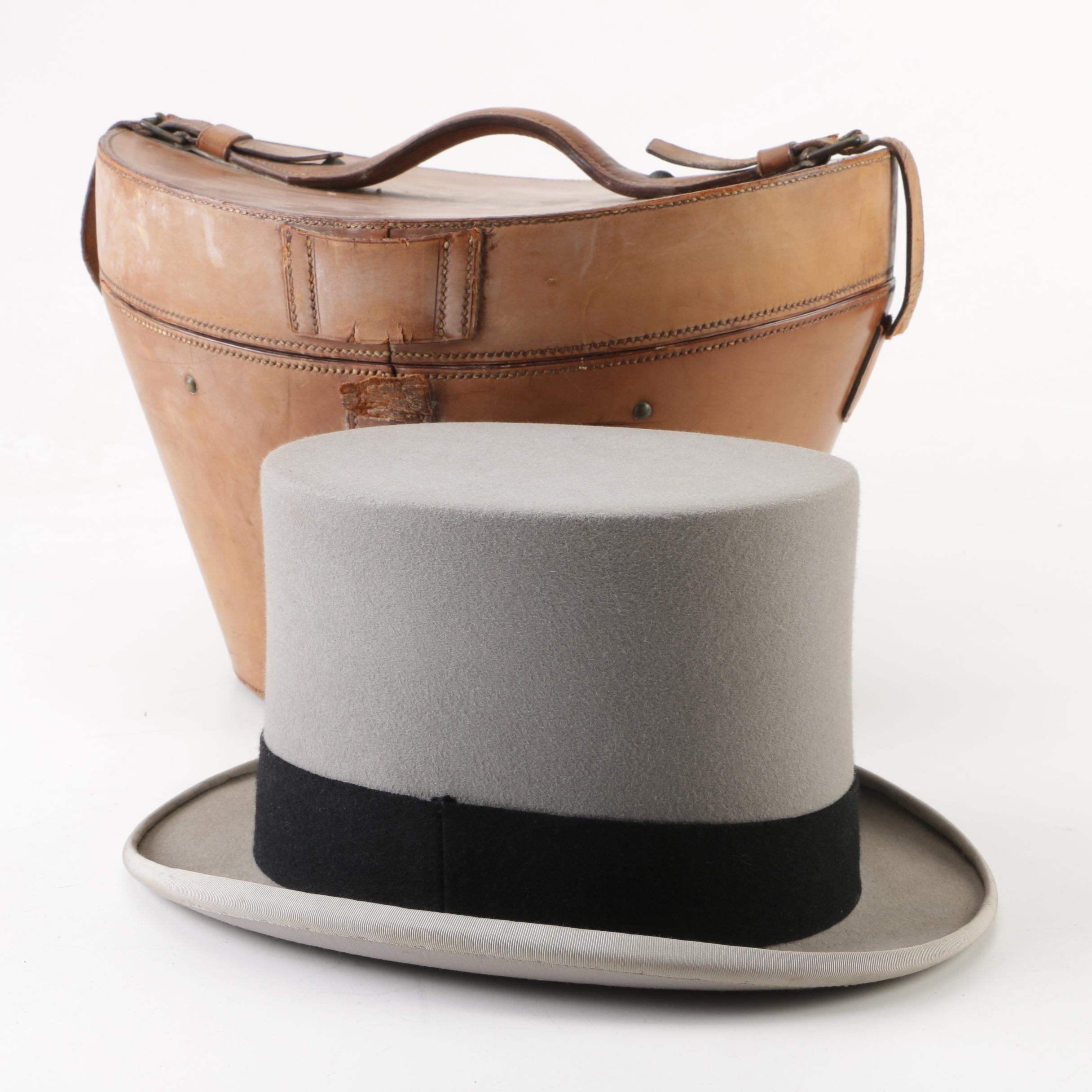 Men's Lock & Co. Hatters London Dove Grey Fur Felt Top Hat and Leather Hat Box