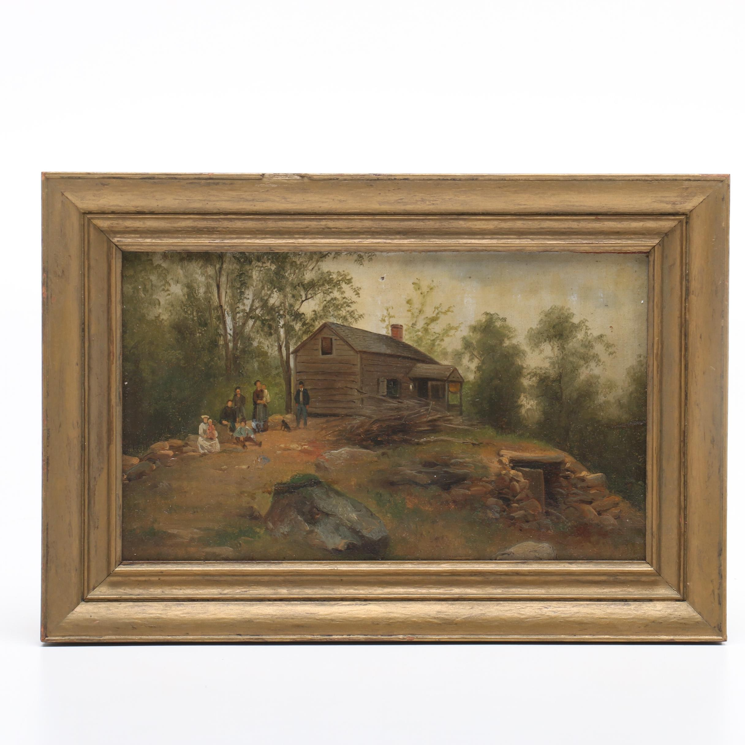 Late 19th-Century Oil Painting of Landscape with Log Cabin and Figures