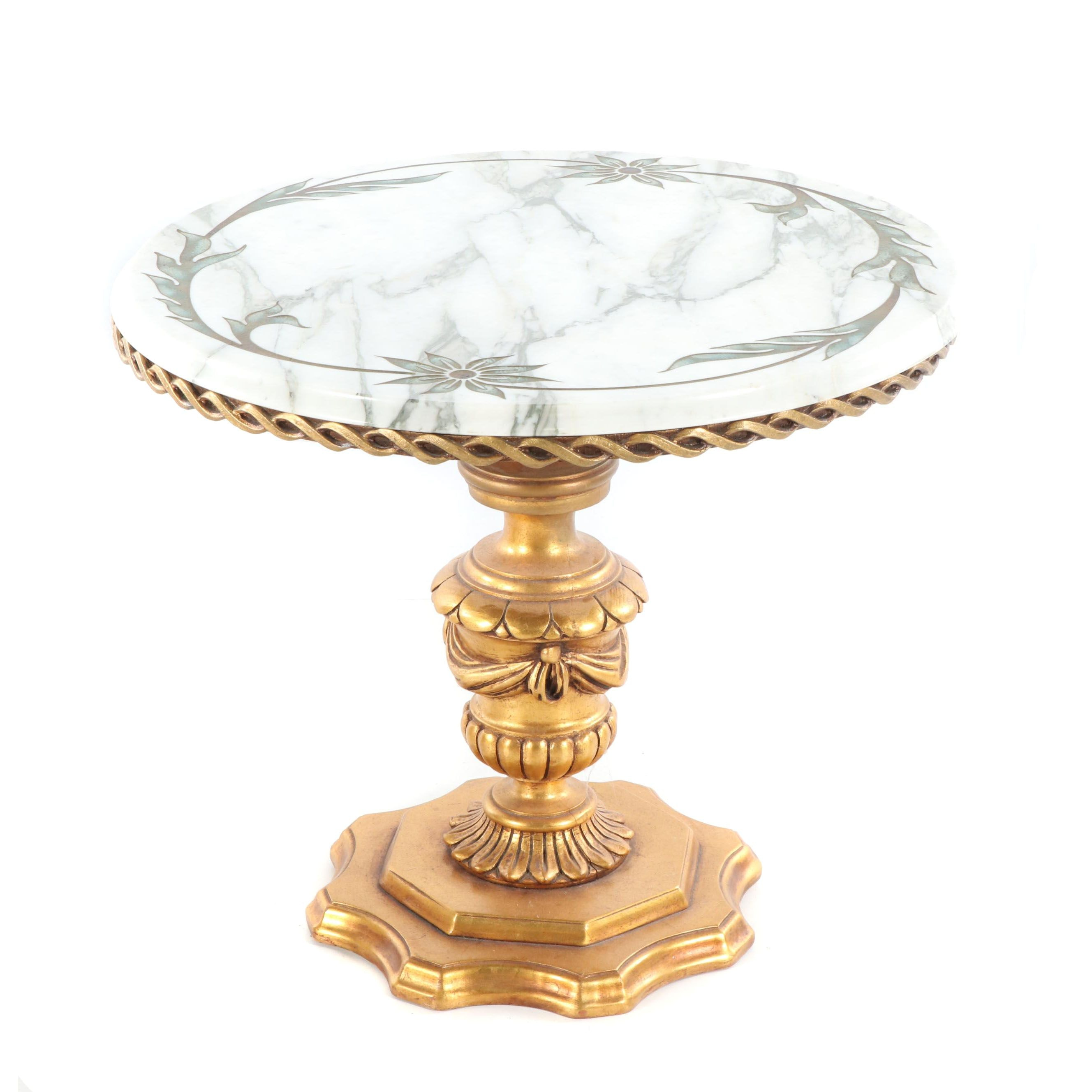 Neoclassical Style Cut Marble Top Occasional Table, Late 20th Century