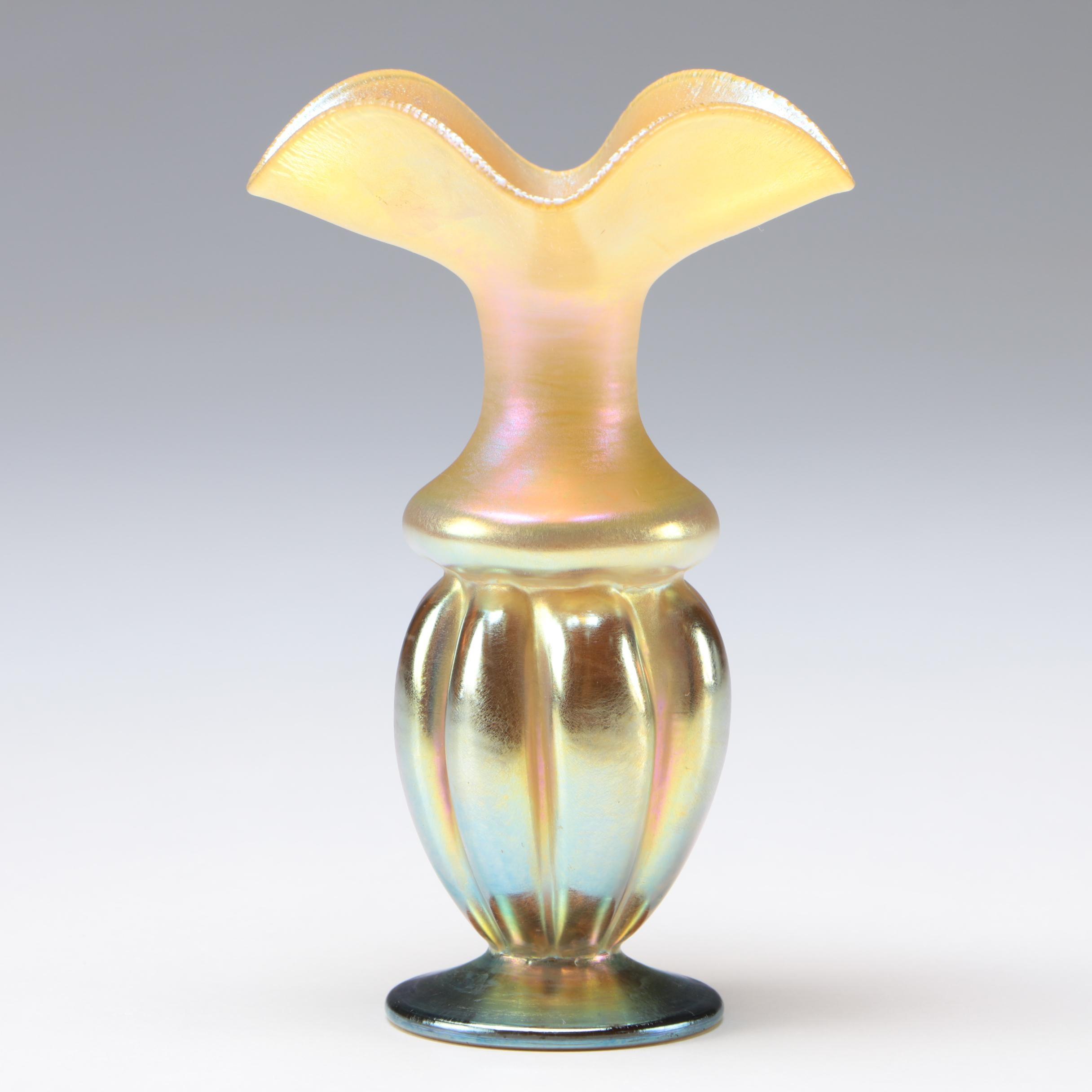 Steuben Art Glass Gold Aurene Bud Vase, Early 20th Century