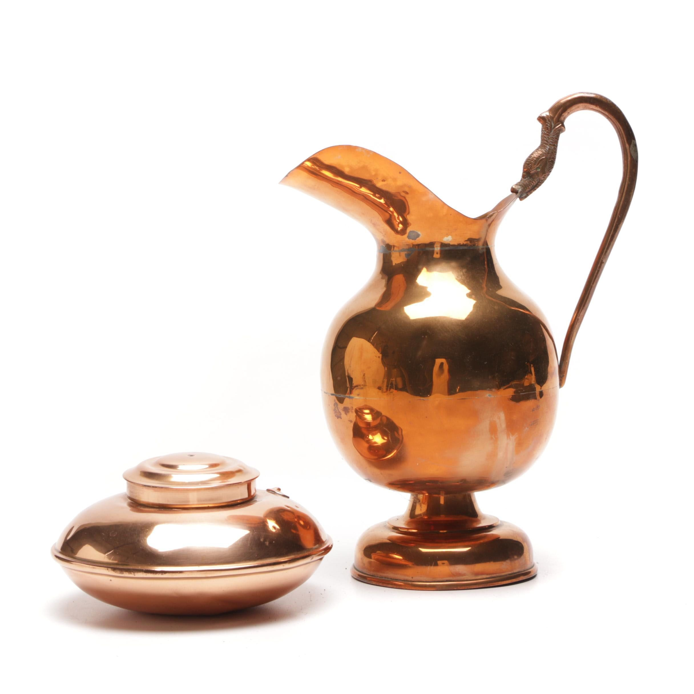 Mexican Copper Pitcher and Decorative Vessel