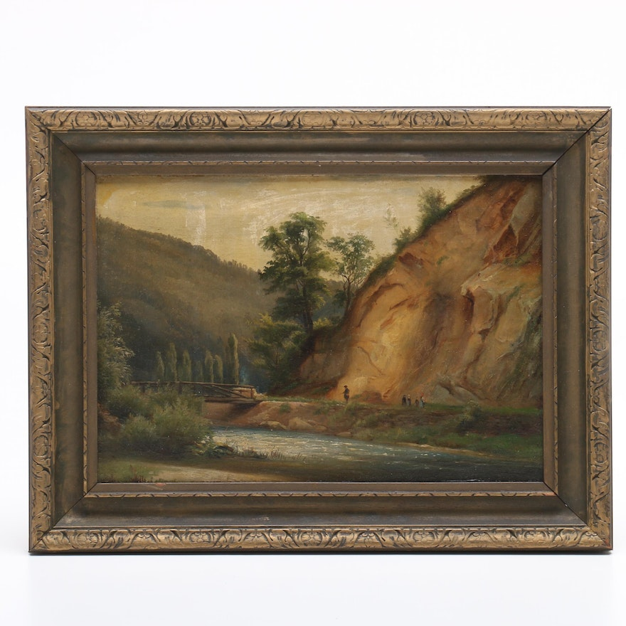 Late 19th-Century Oil Painting of Landscape with Figures