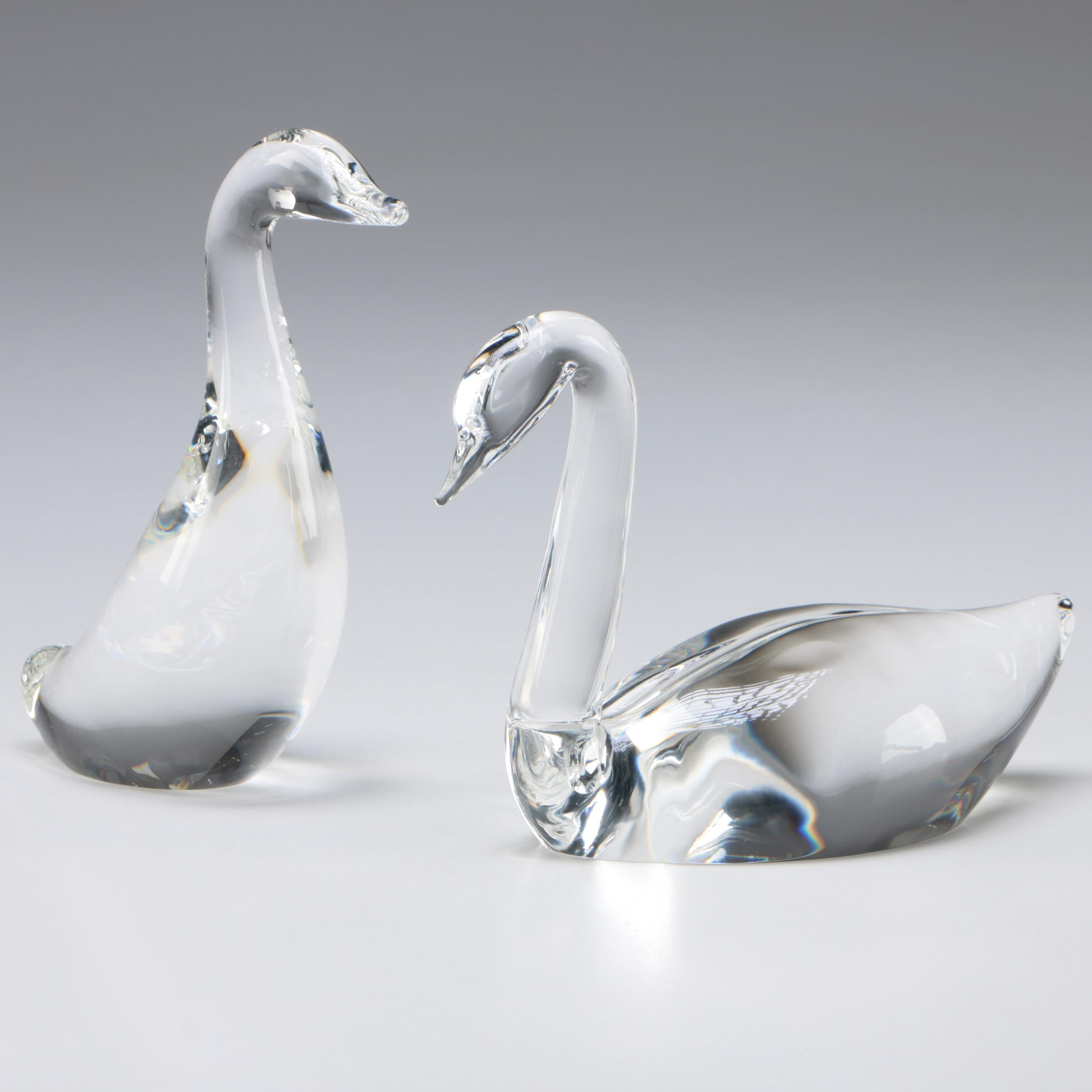 """Steuben Art Glass """"Gander"""" and Swan Paperweight by Lloyd Atkins, Mid-Century"""