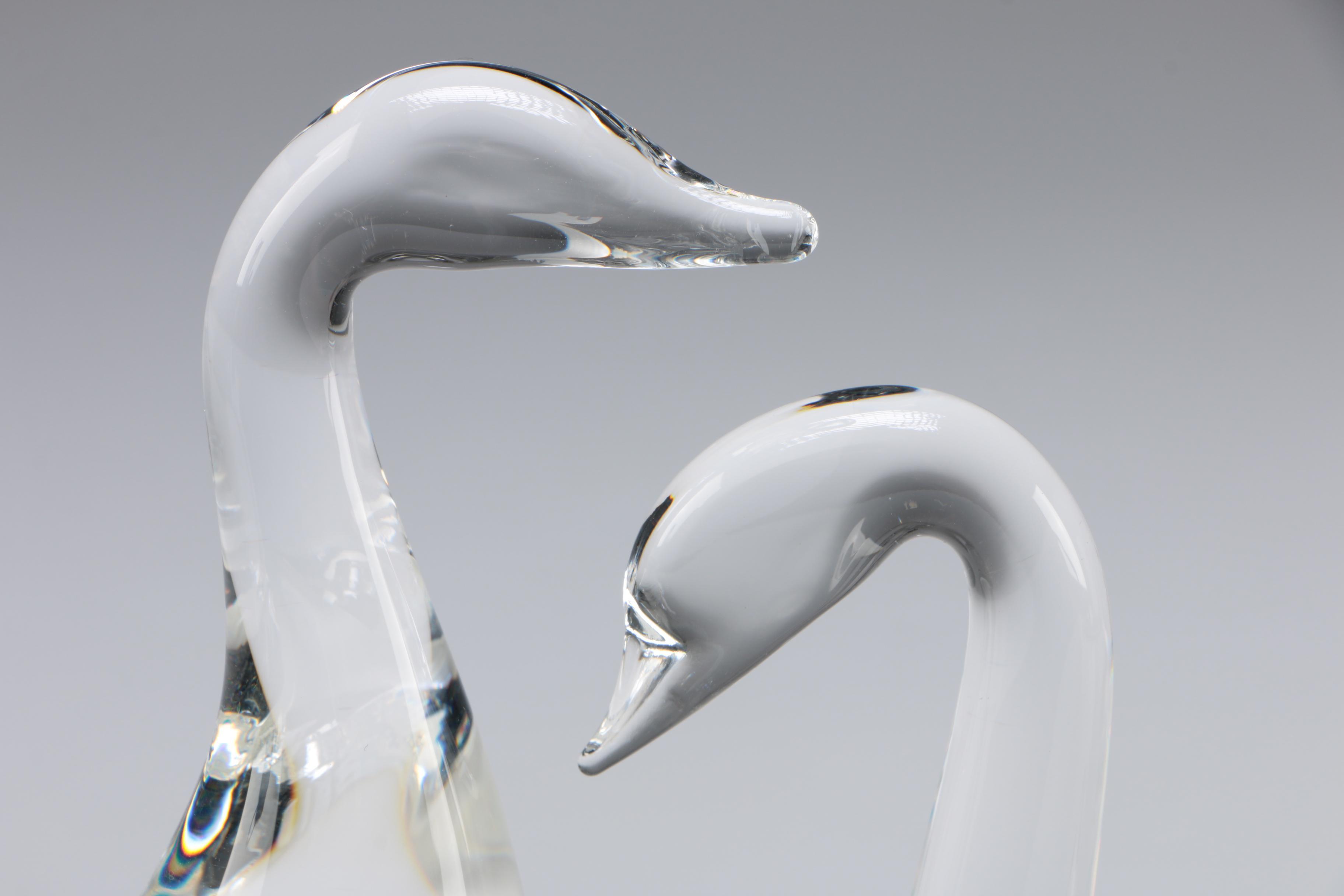 Steuben Art Glass  U0026quot Gander U0026quot  And Swan Paperweight By Lloyd