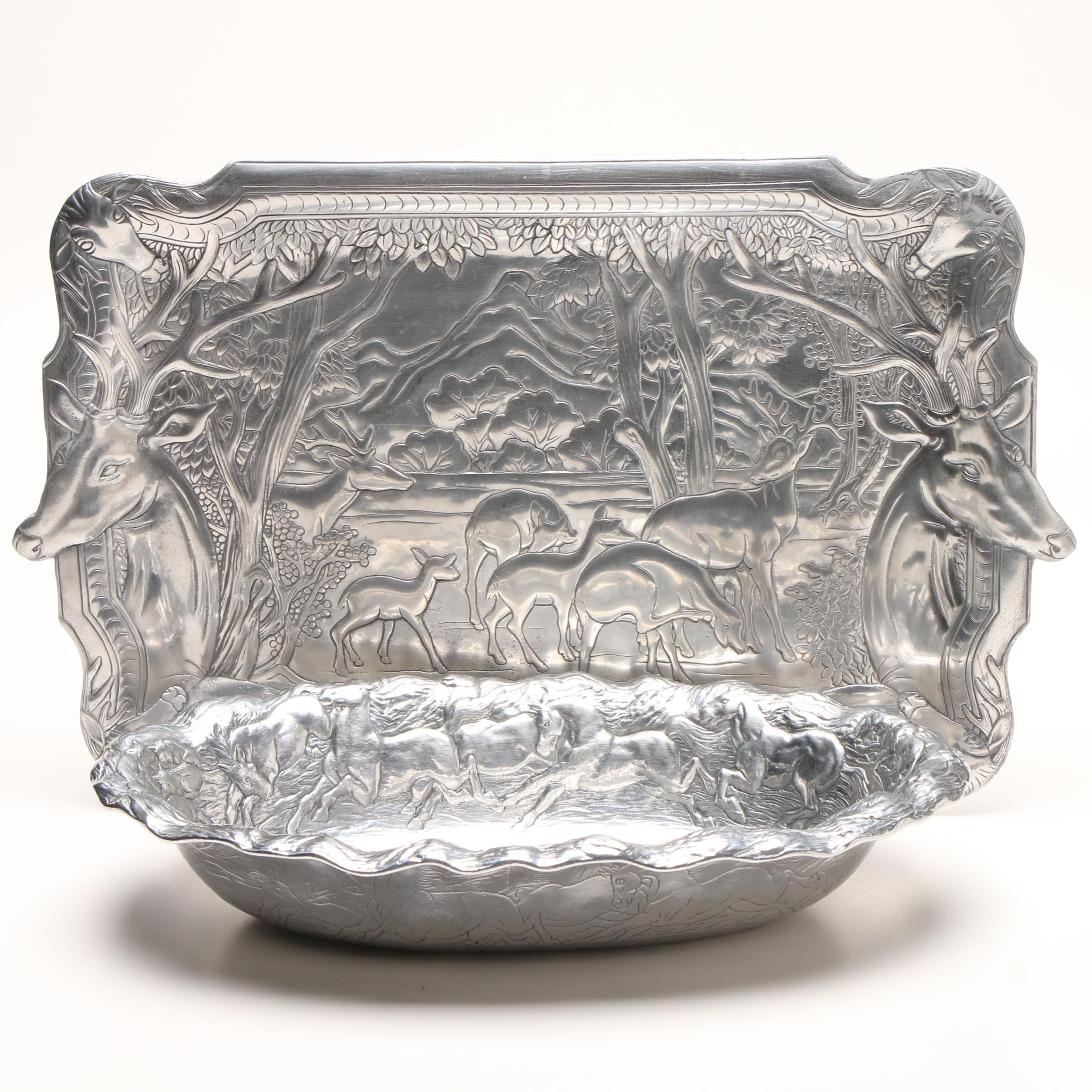 1982 Arthur Court Embossed Oval Bowl and Serving Tray
