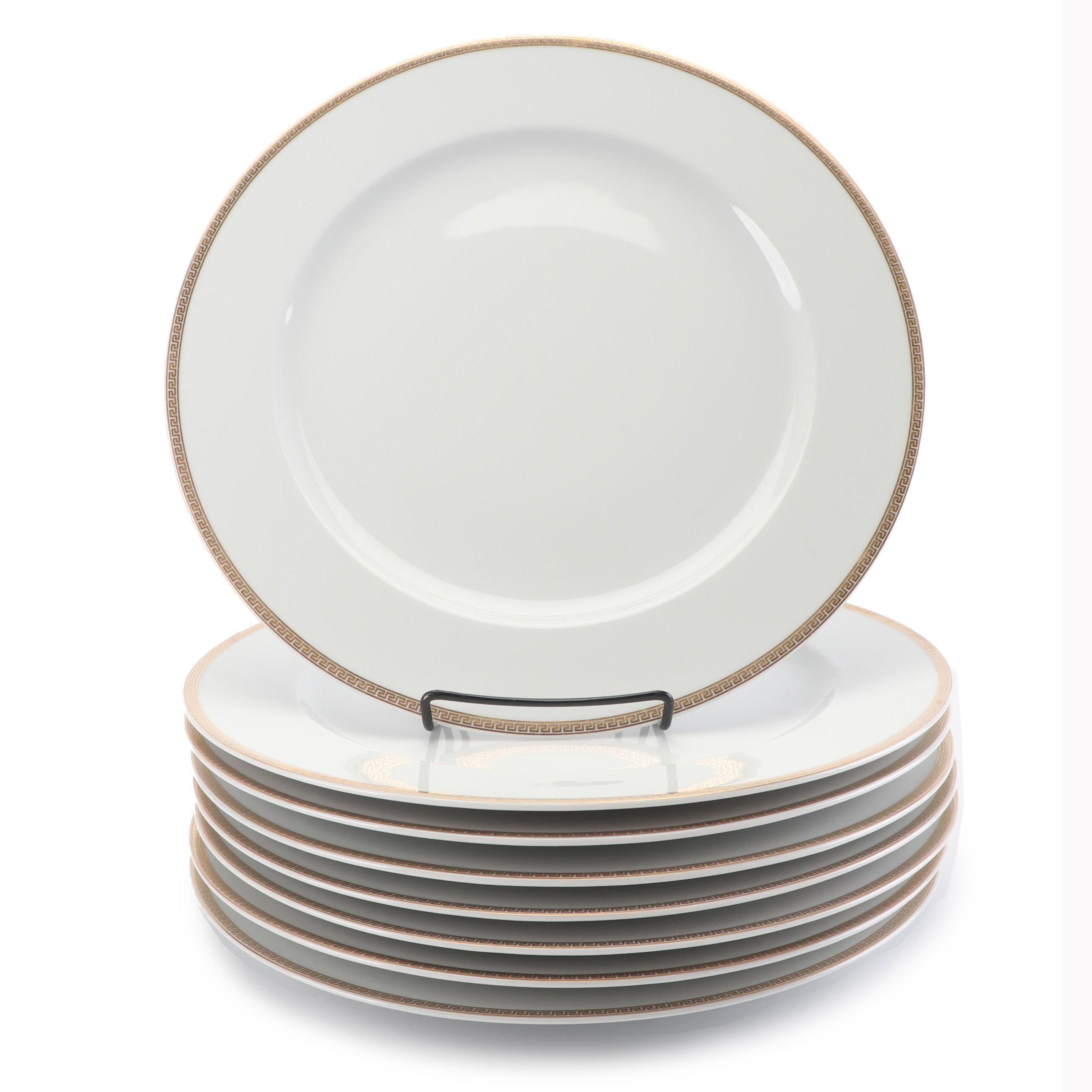 """Versace for Rosenthal """"Médaillon Méandre d'Or"""" Porcelain Service Plates"""