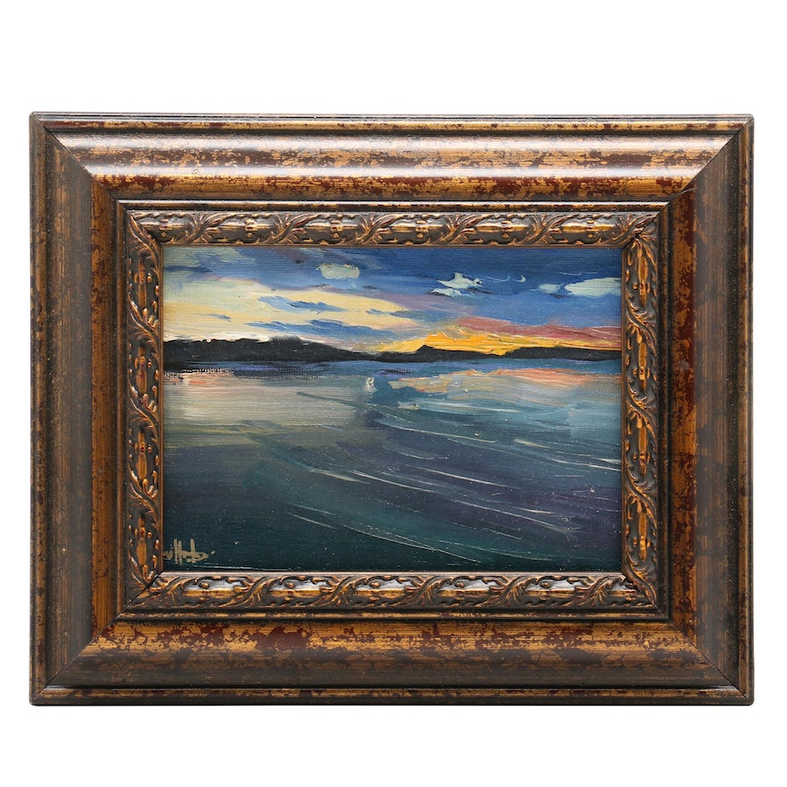William Hawkins Oil Painting of Lake Scene at Sunset