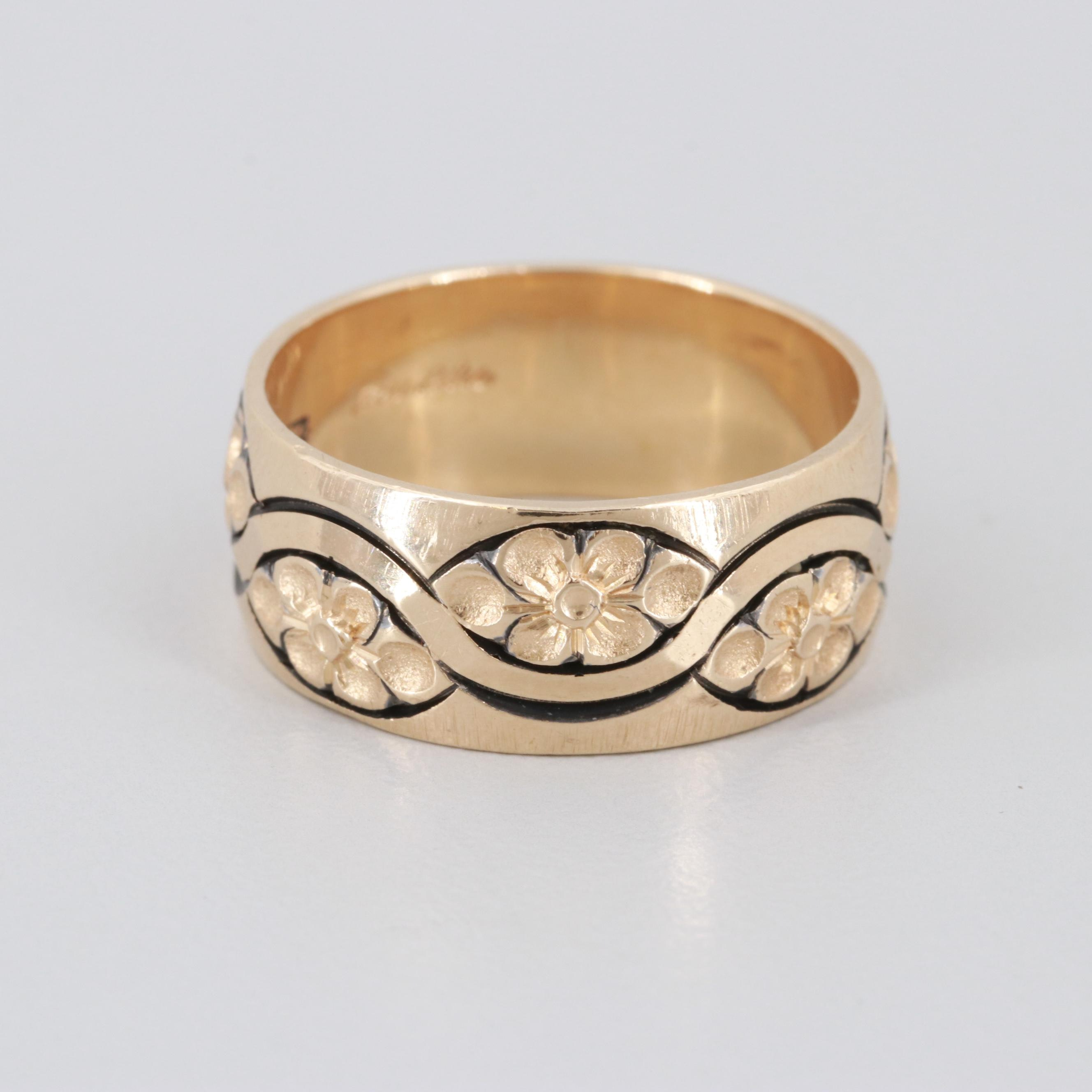 14K Yellow Gold Ring with Oxidized Details