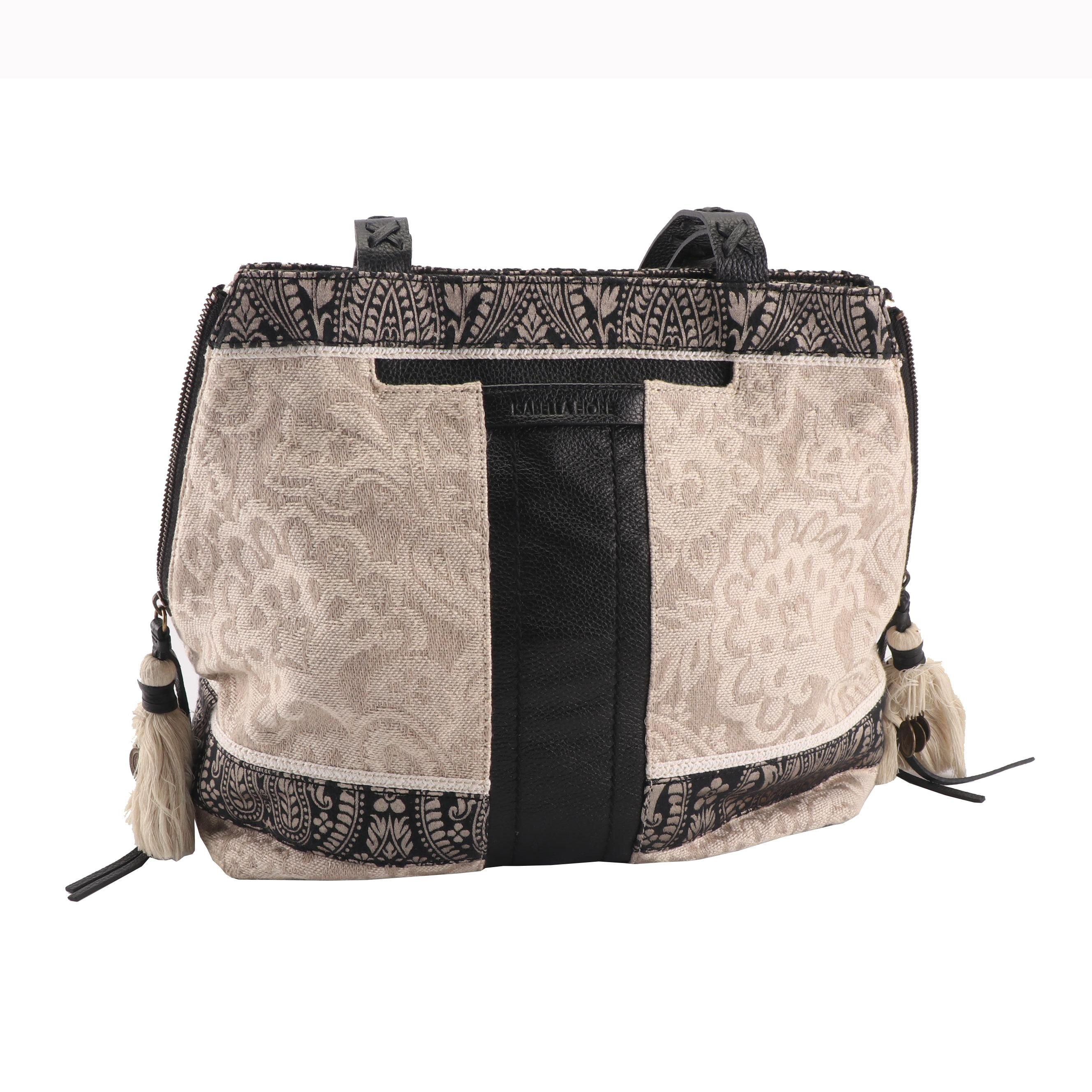 Isabella Fiore Jacquard Canvas and Black Pebbled Leather Shoulder Bag