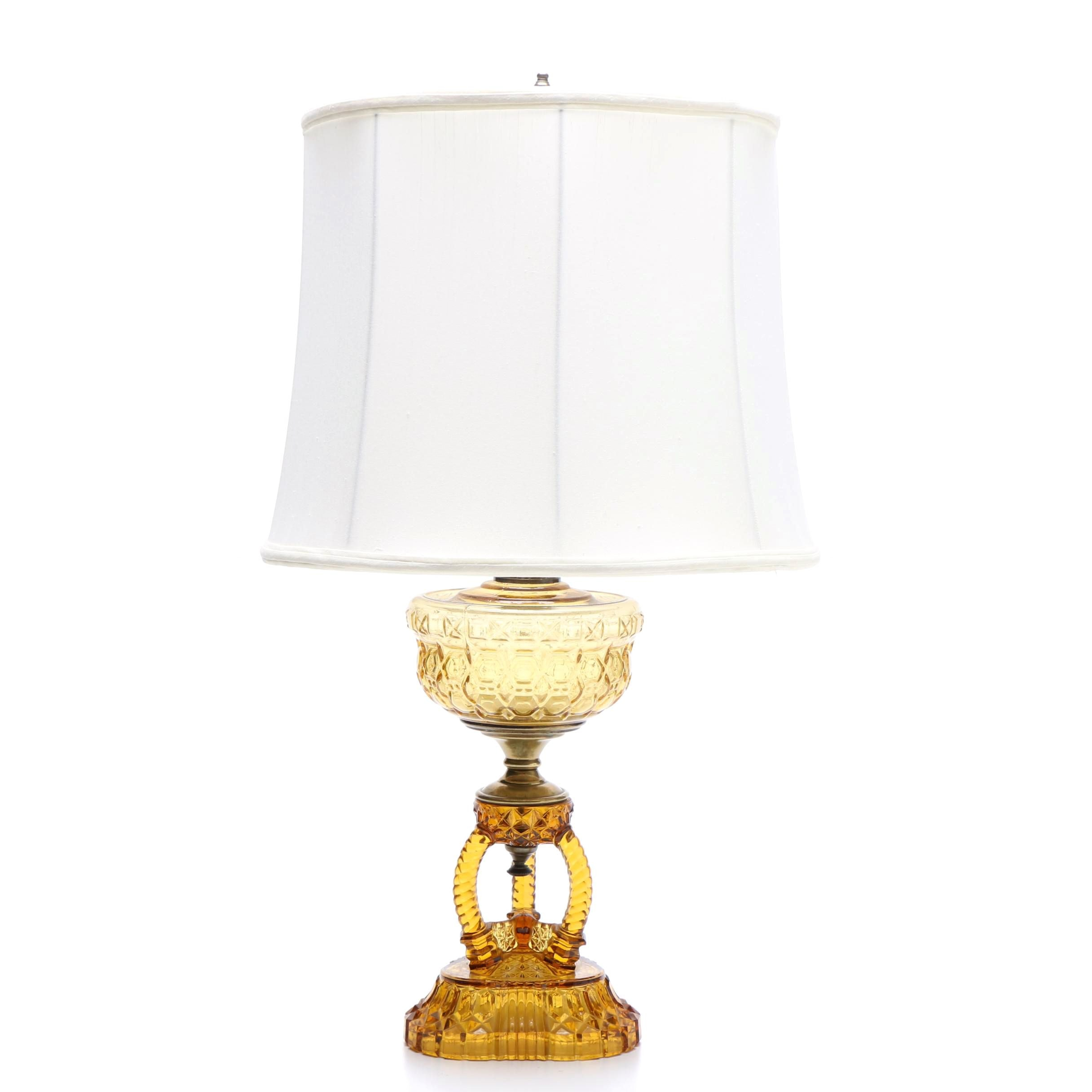 Converted Amber Glass Oil Lamp with Lamp Shade