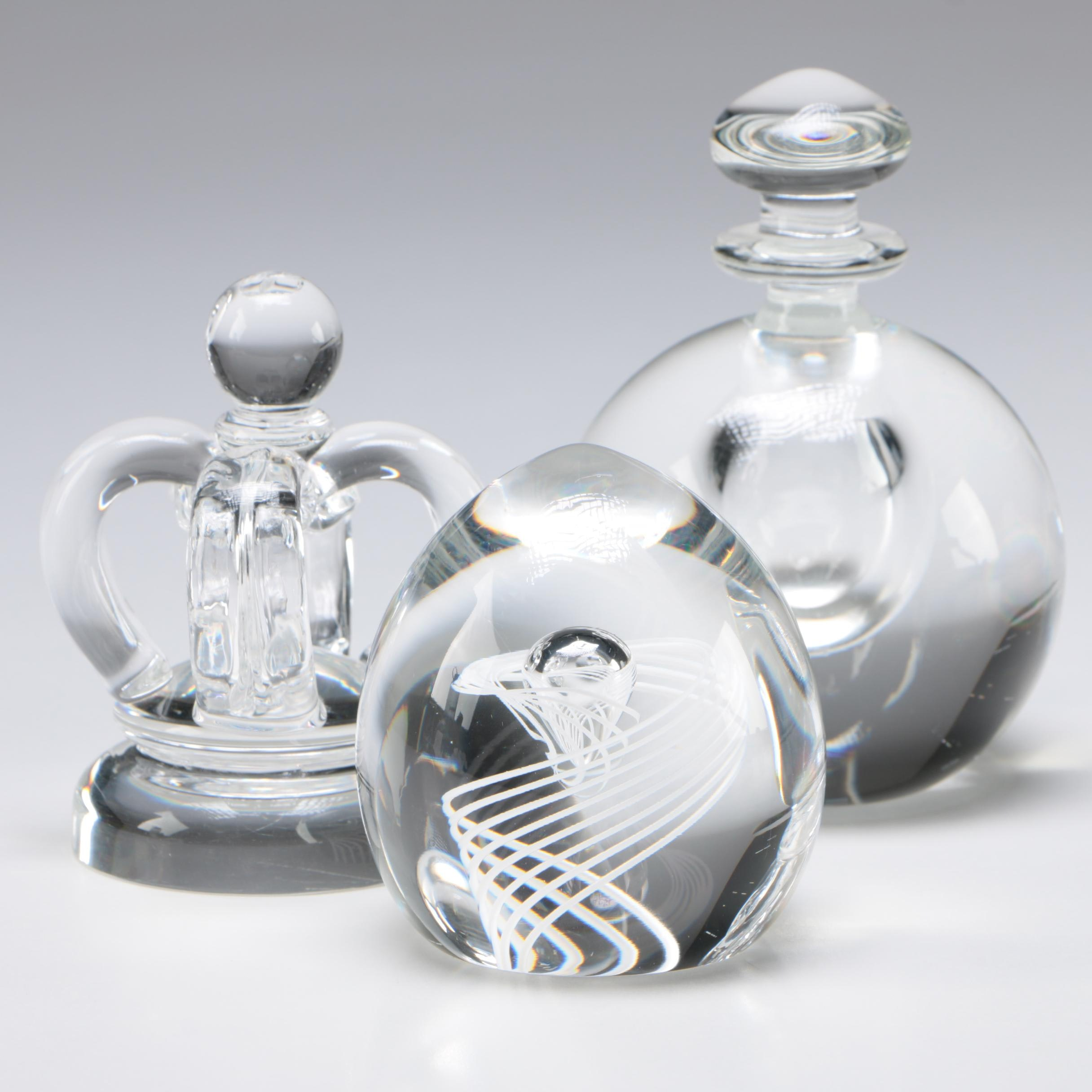 """Steuben Art Glass """"Cane Twist"""" Paperweight, Perfume, and More Mid-Century"""