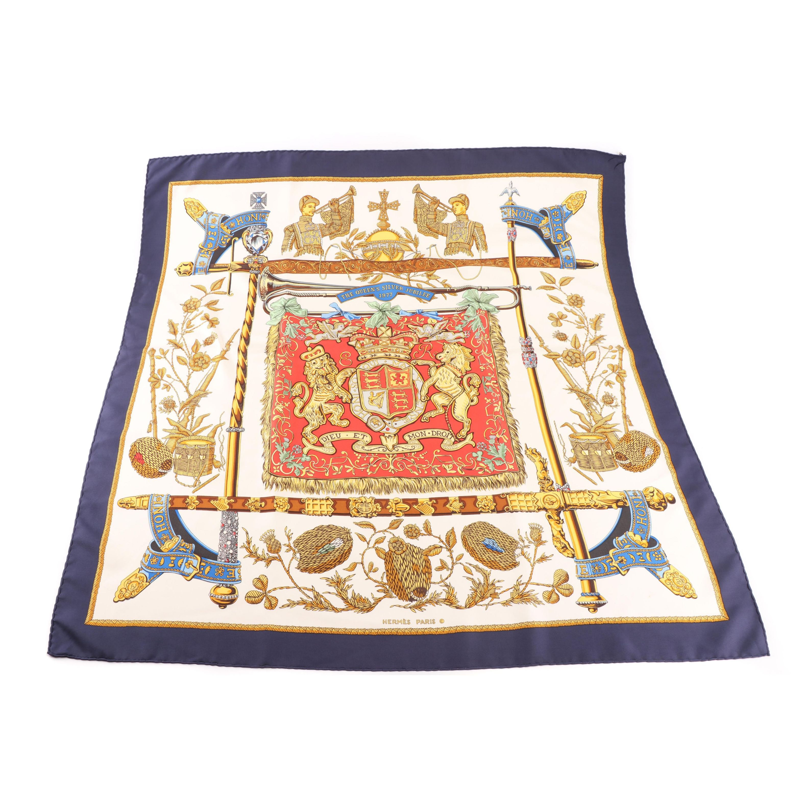 "Hermès of Paris ""The Queen's Silver Jubilee 1977/Dieu et Mon Droit"" Silk Scarf"